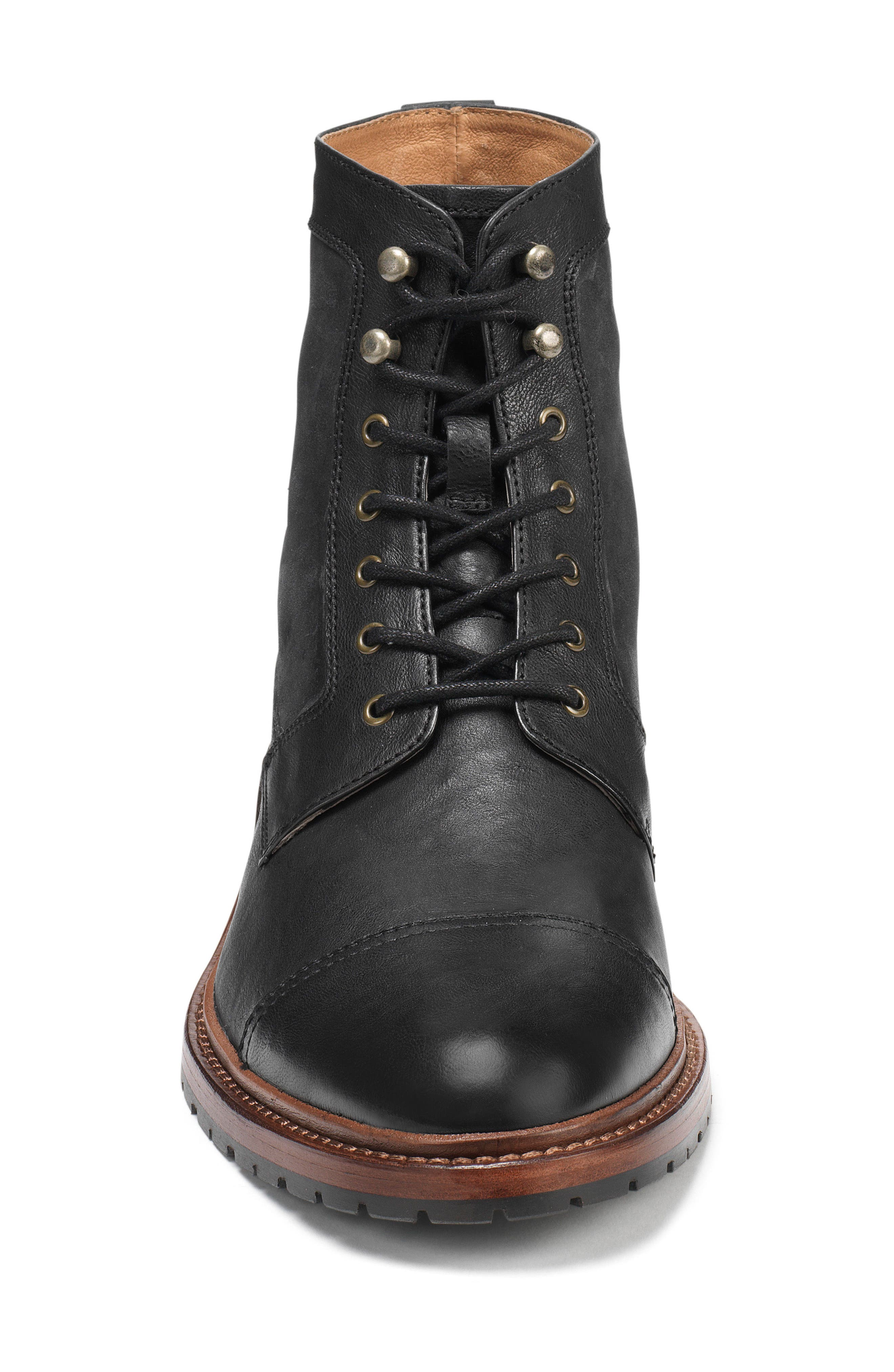 'Lowell' Cap Toe Boot,                             Alternate thumbnail 3, color,                             BLACK WASHED LEATHER