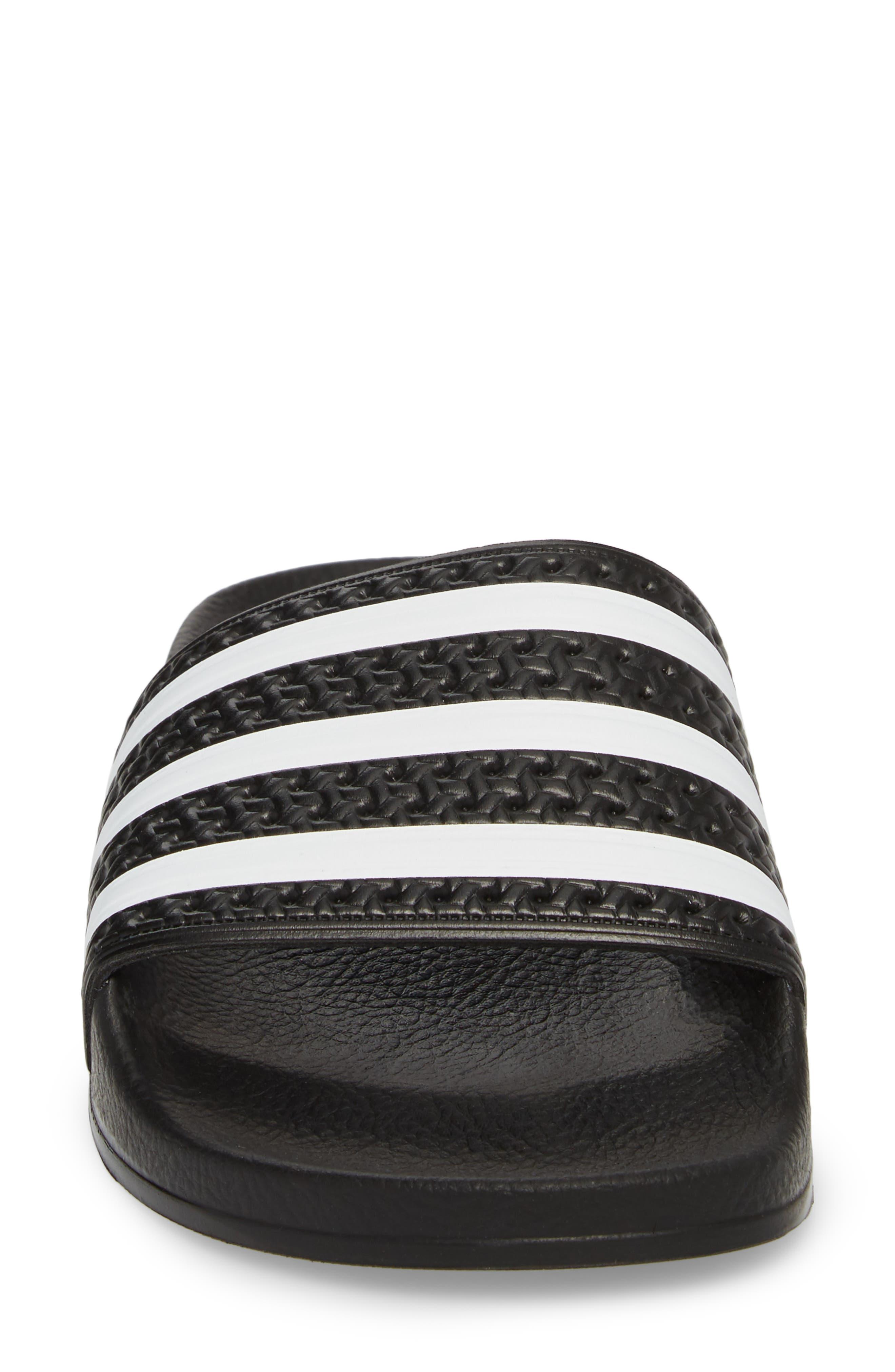 'Adilette' Slide Sandal,                             Alternate thumbnail 4, color,                             CORE BLACK/ WHITE/ CORE BLACK