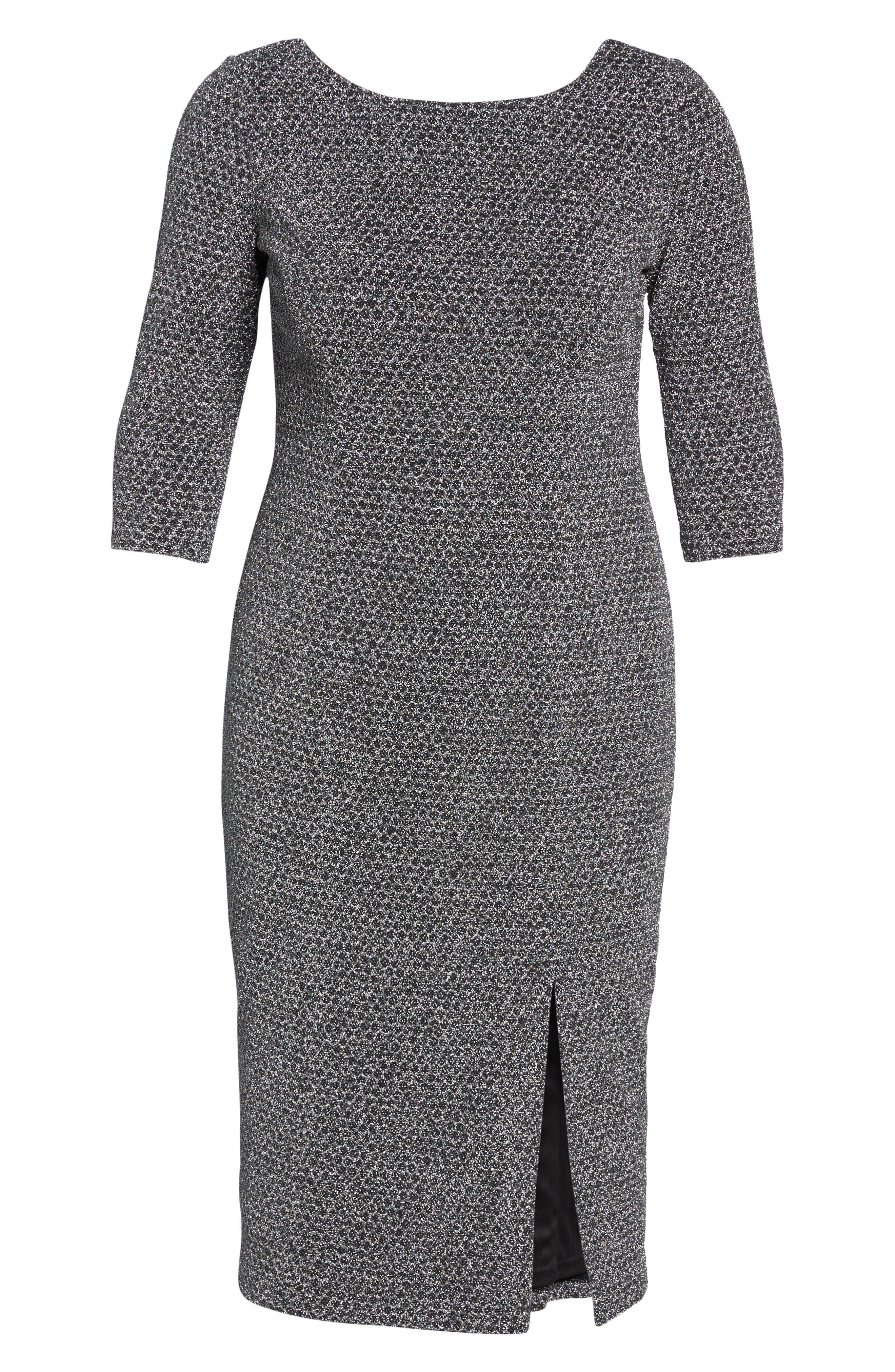 Glitter Knit Sheath Dress,                             Alternate thumbnail 6, color,