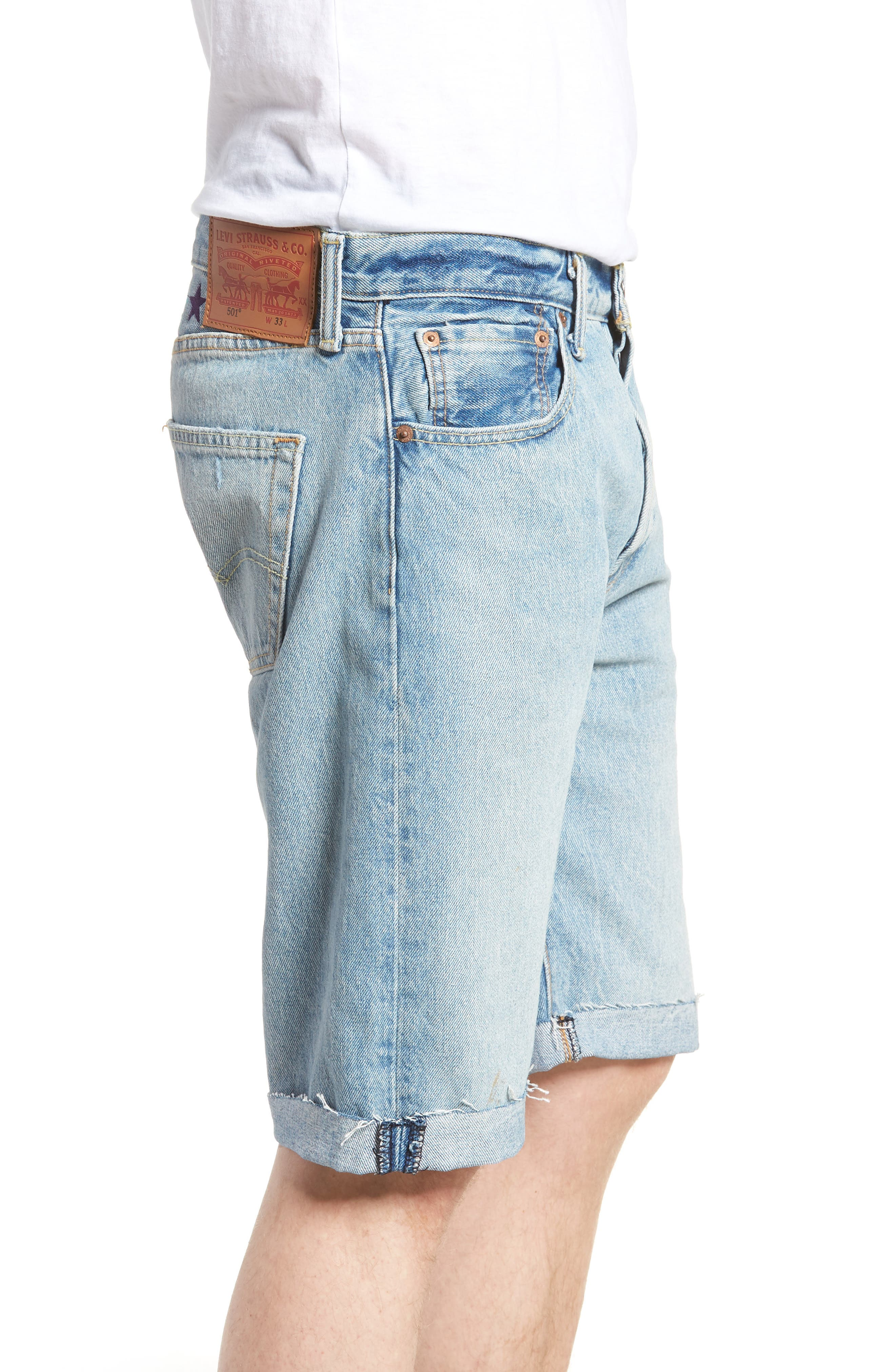 501<sup>™</sup> Cutoff Denim Shorts,                             Alternate thumbnail 3, color,                             LOVE TO ALL