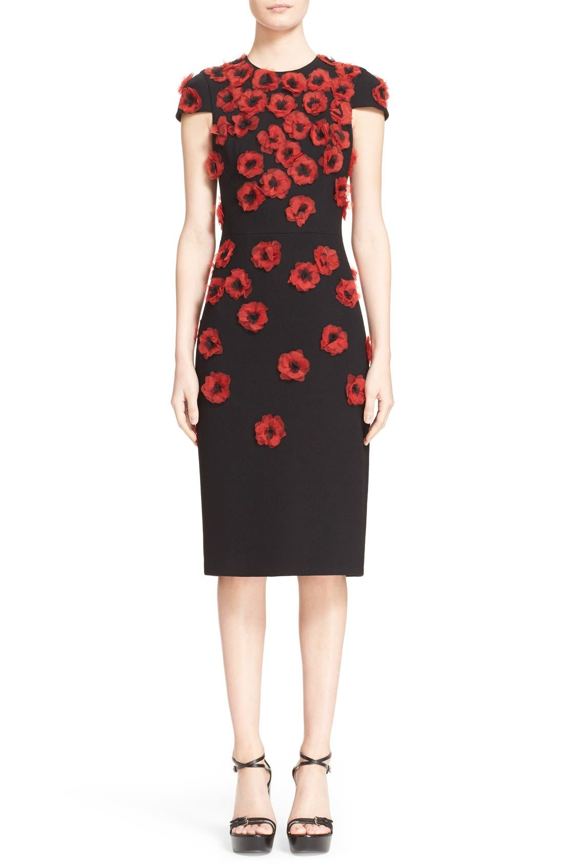 'Crimson Poppy' Floral Embellished Sheath Dress,                             Main thumbnail 1, color,                             001