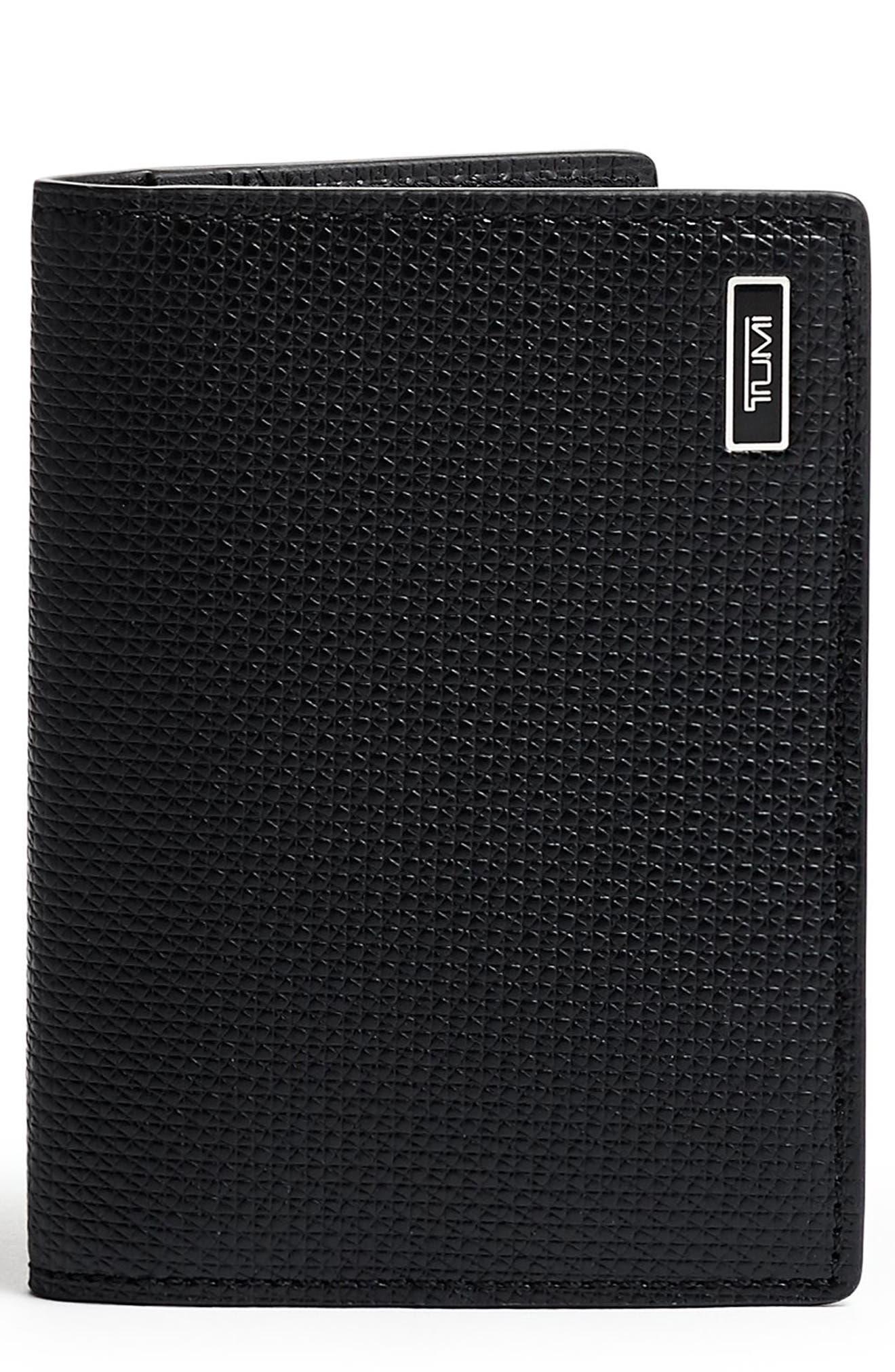 Monaco Folding Leather Card Case,                             Main thumbnail 1, color,                             BLACK