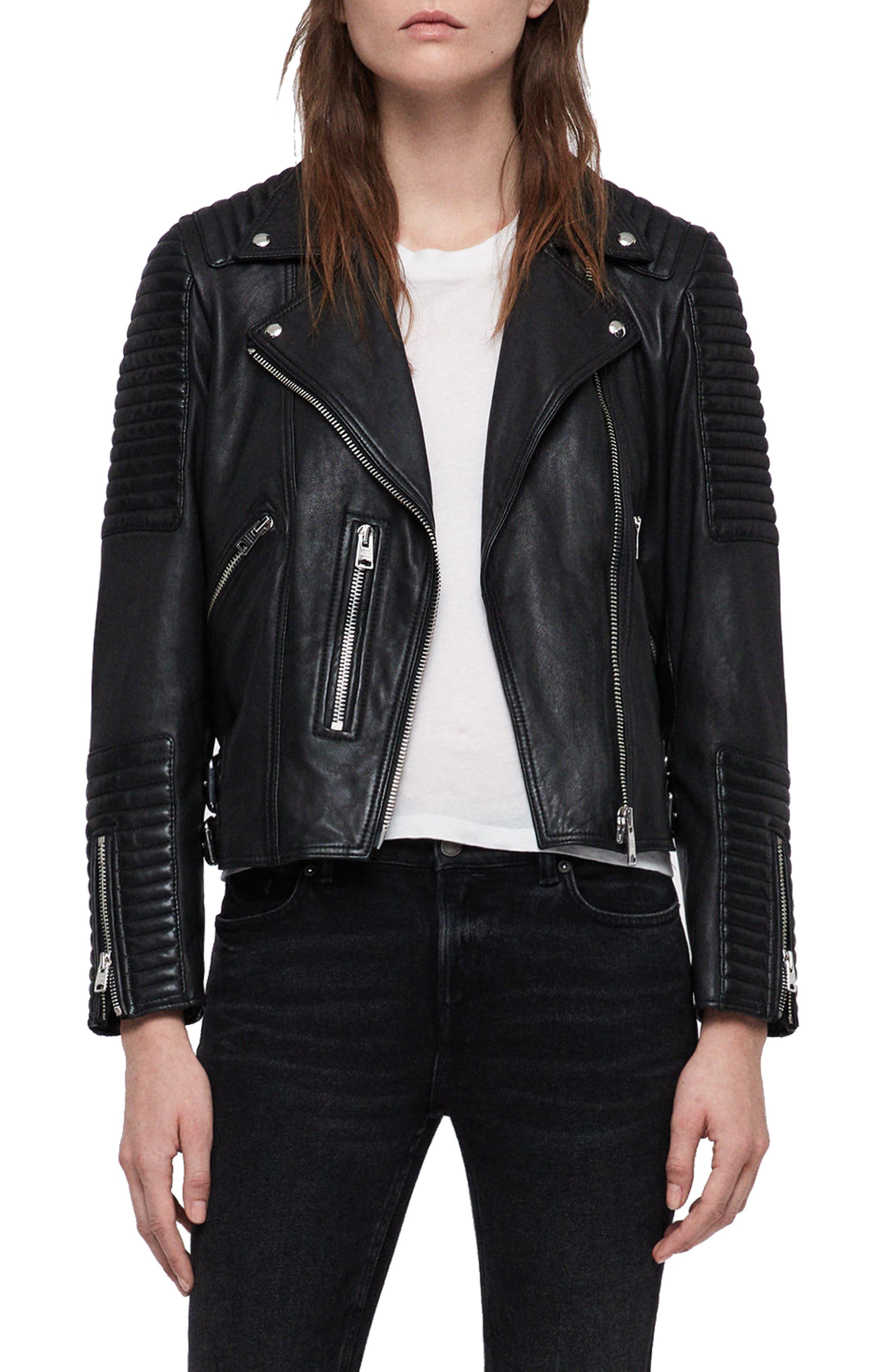 ALLSAINTS Estella Quilted Leather Biker Jacket in Black