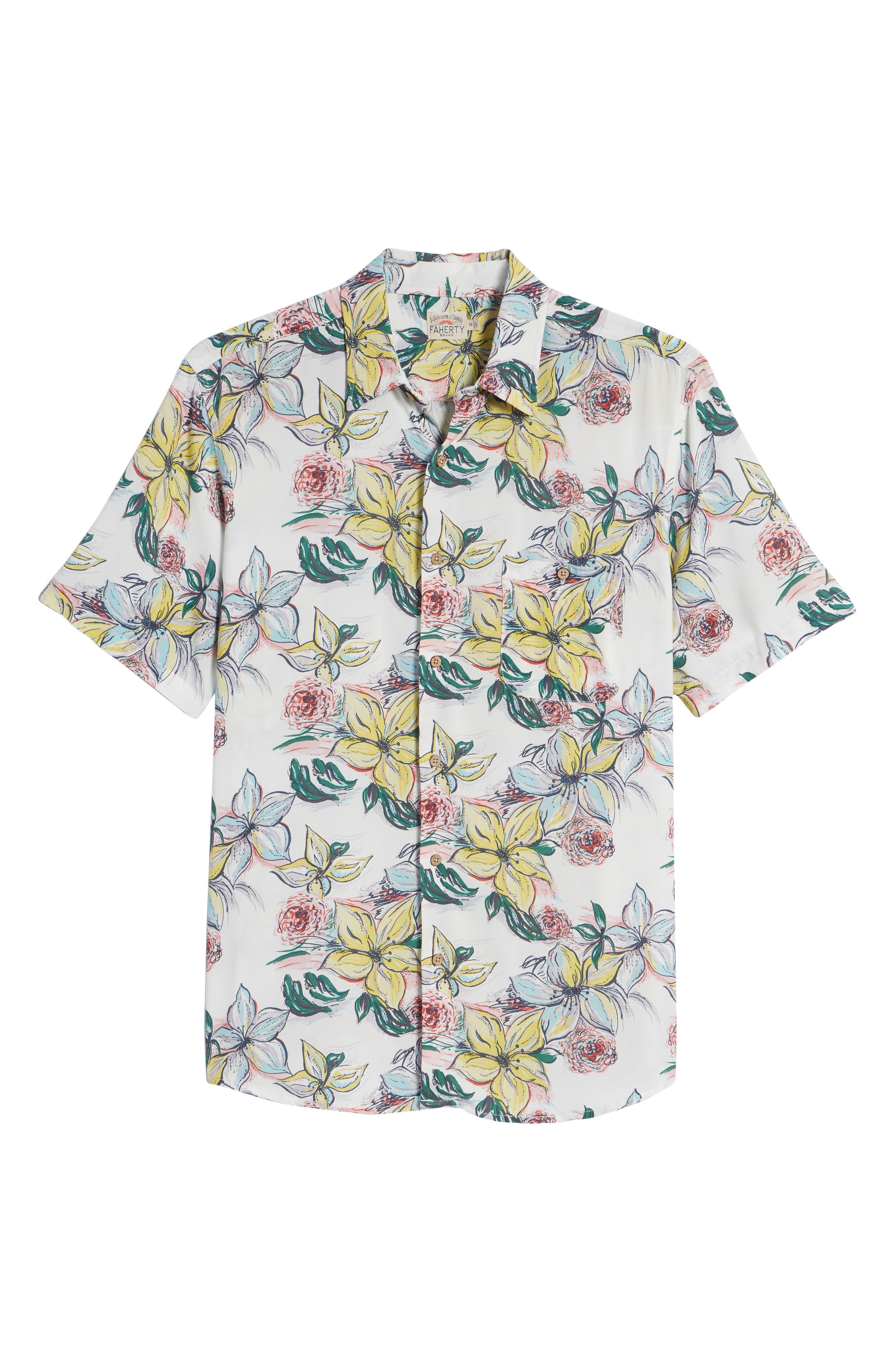 Hawaiian Print Sport Shirt,                             Alternate thumbnail 6, color,                             400
