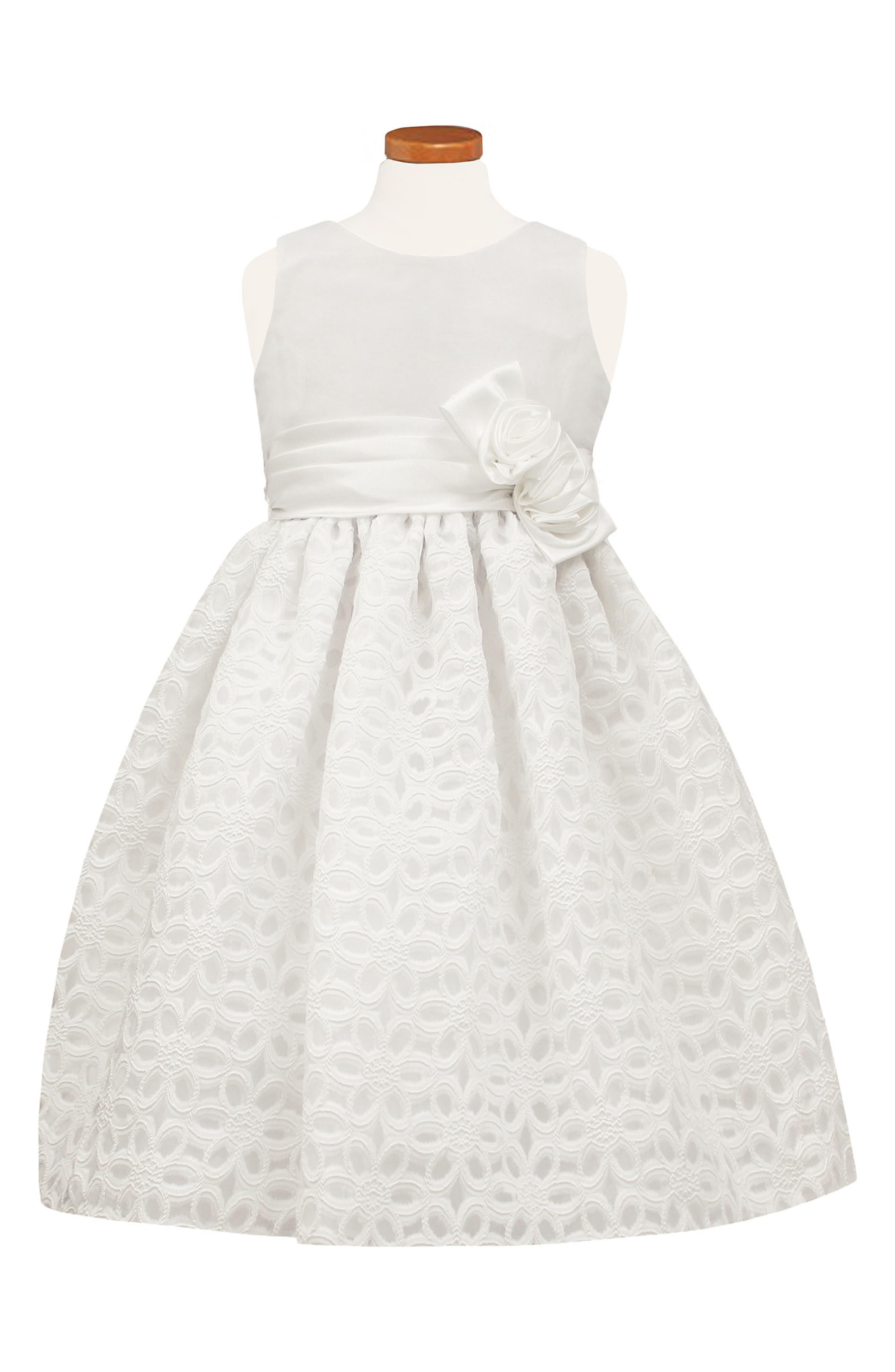 Floral Burnout Fit & Flare Dress,                             Main thumbnail 1, color,                             WHITE