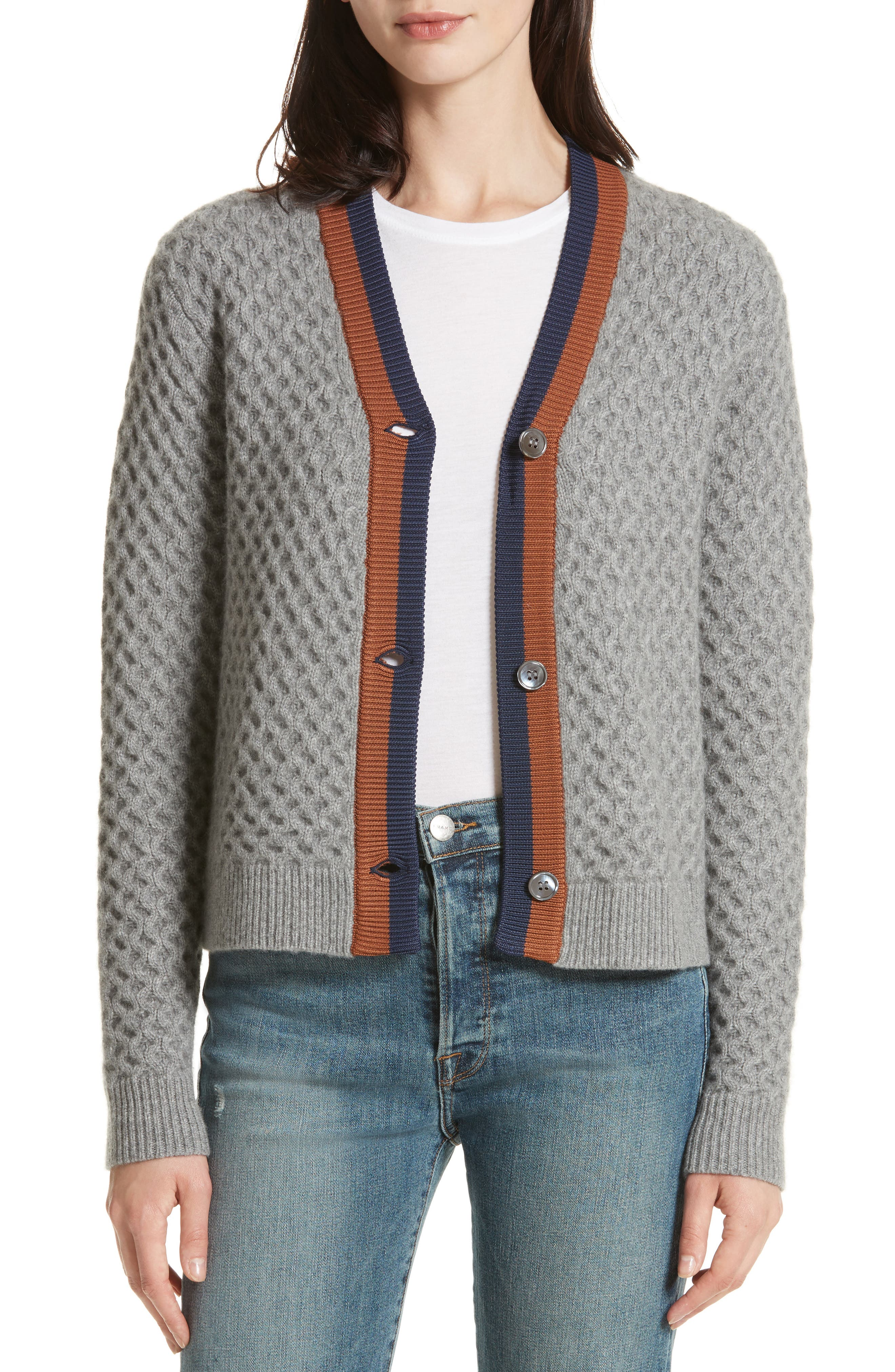 The Dylan Cashmere Cardigan,                         Main,                         color, GREY/ VICUNA/ NAVY