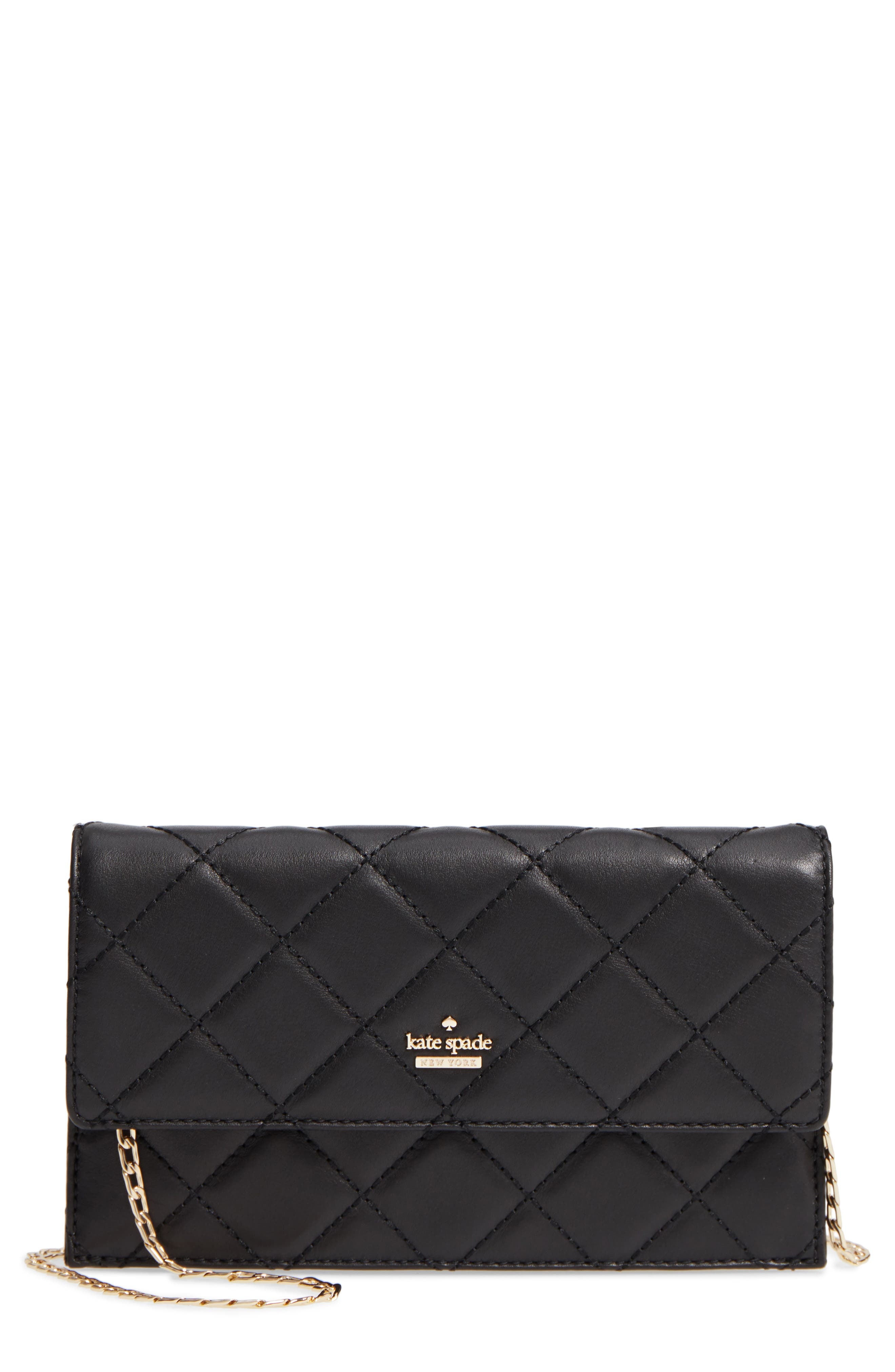 emerson place - brennan quilted leather convertible clutch & card holder,                         Main,                         color, 001