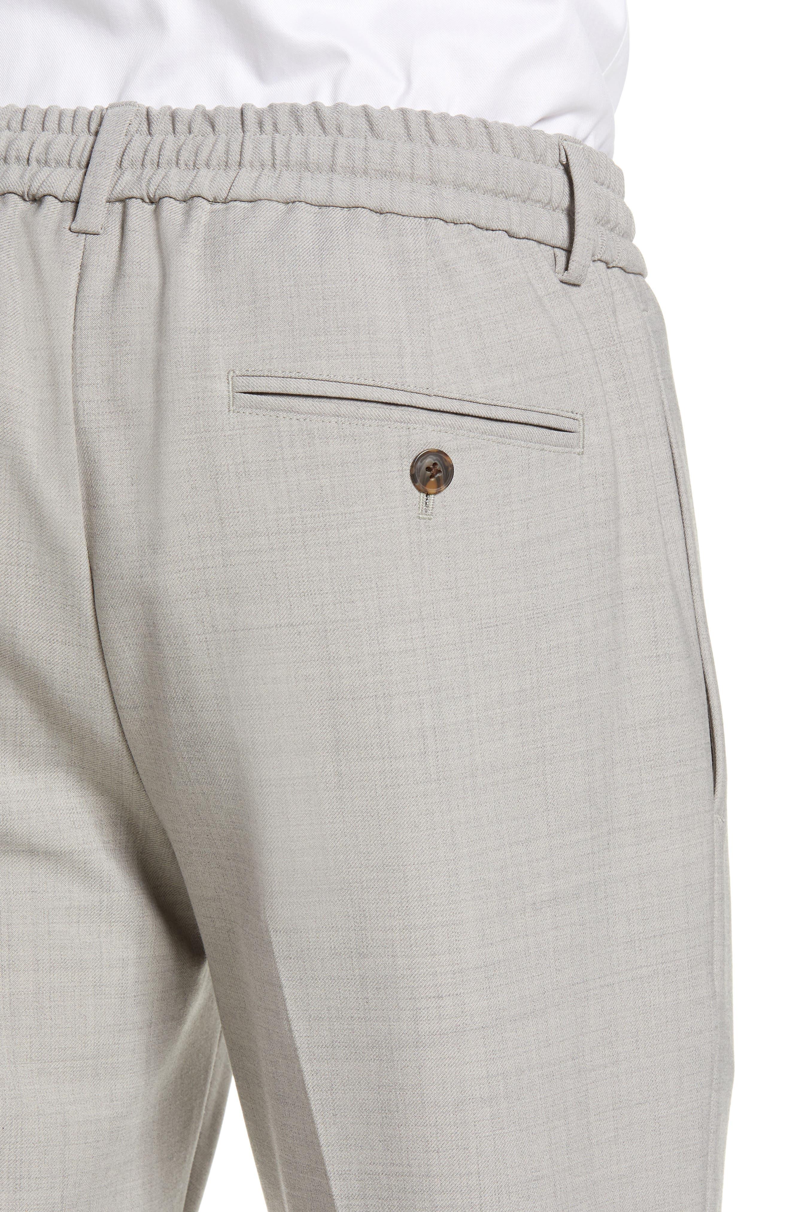 CLUB MONACO,                             Trim Fit Pintuck Pants,                             Alternate thumbnail 4, color,                             HEATHER GREY