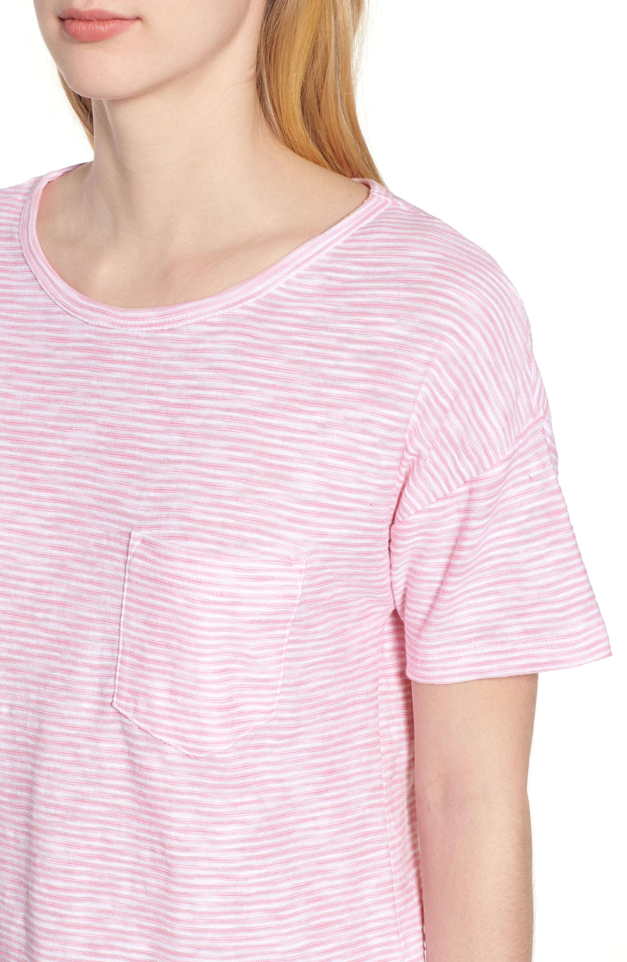 Striped Boxy Tee,                             Alternate thumbnail 4, color,                             654