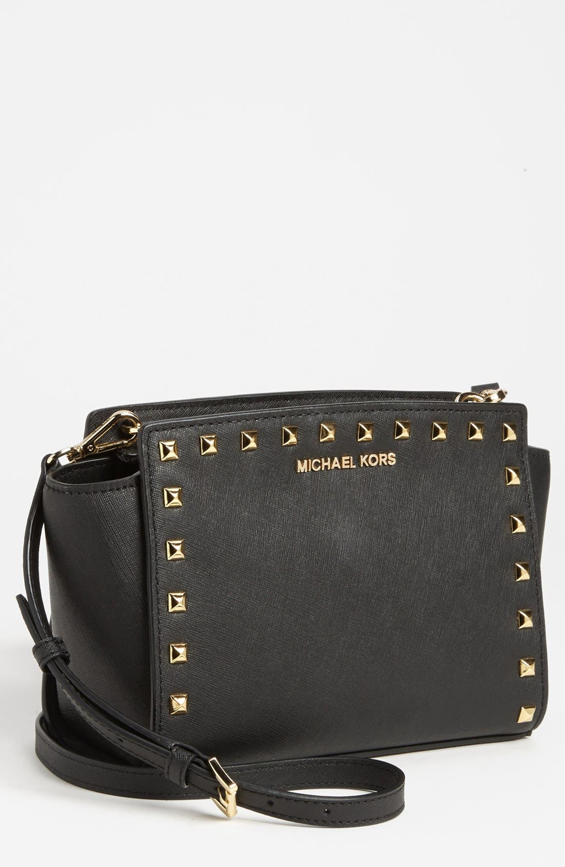 'Selma - Stud' Saffiano Leather Crossbody Bag,                             Main thumbnail 1, color,                             001