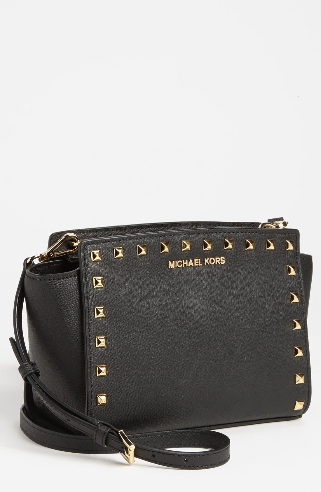 'Selma - Stud' Saffiano Leather Crossbody Bag,                         Main,                         color, 001
