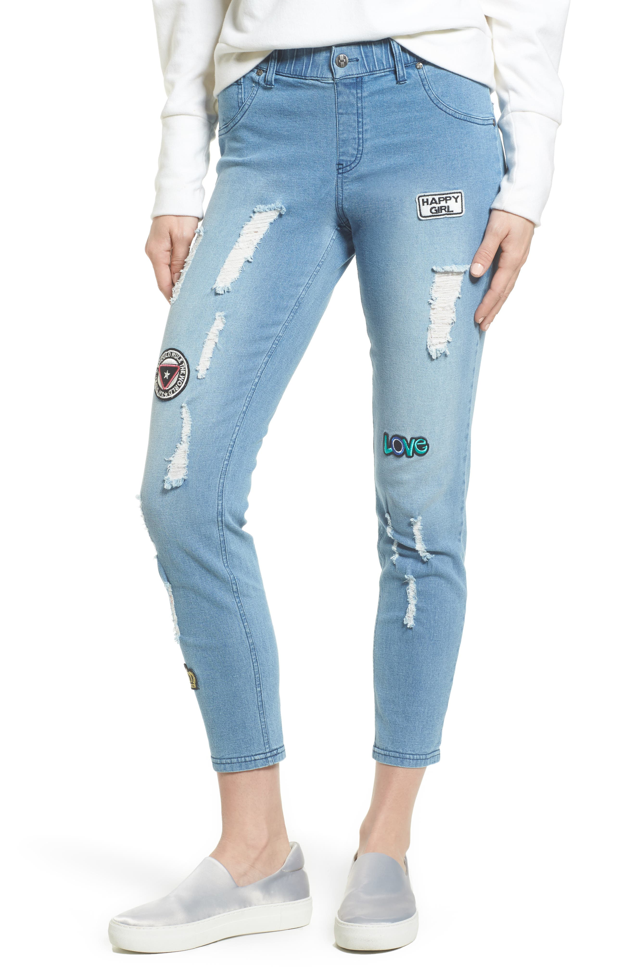Patched Distressed Denim Skimmer Leggings,                             Main thumbnail 1, color,                             484