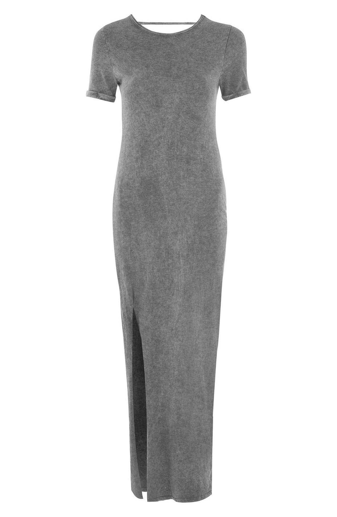 Lattice Back Jersey Maxi Dress,                             Alternate thumbnail 4, color,                             020
