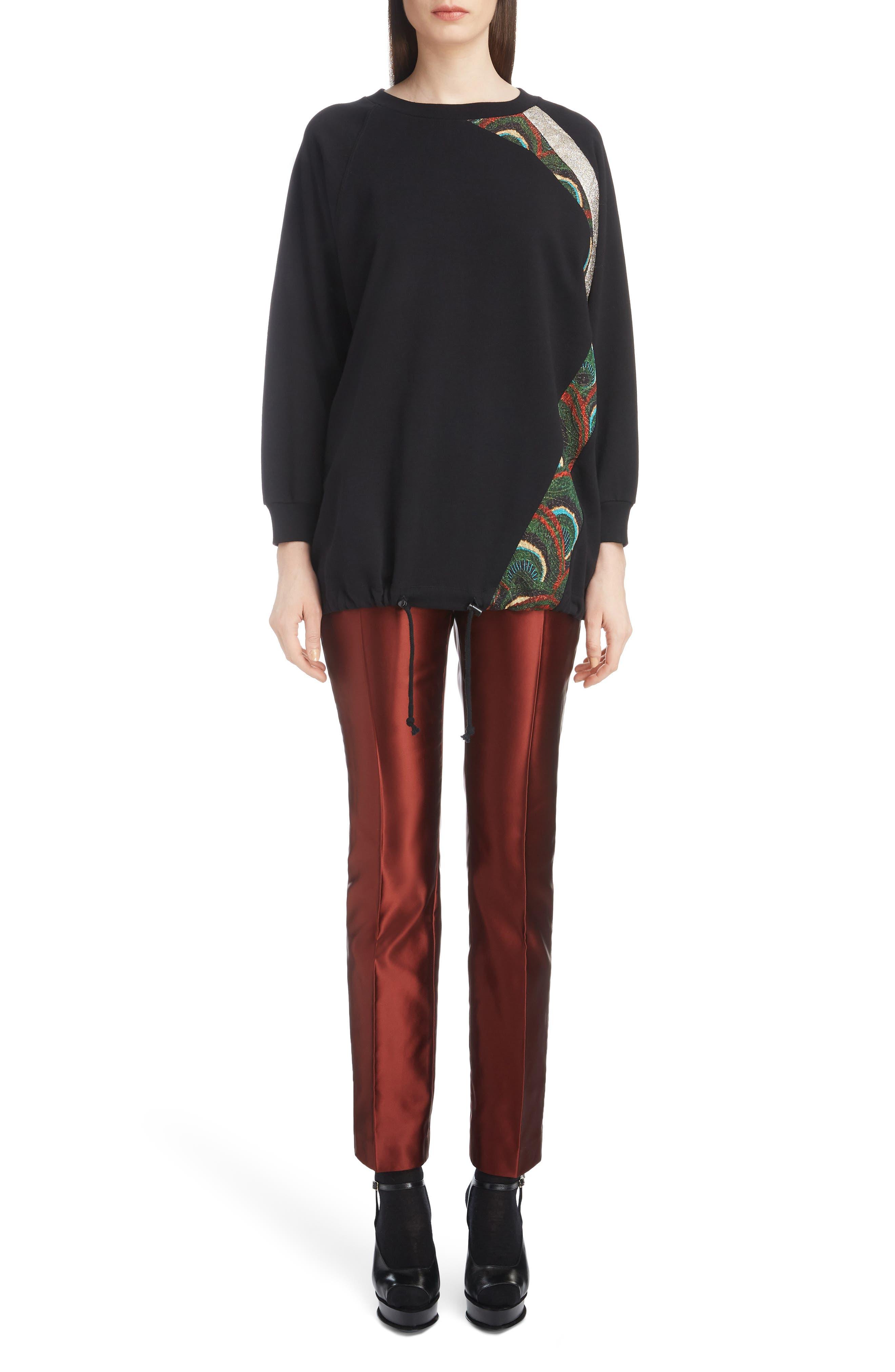 Metallic & Peacock Inset Sweatshirt,                             Alternate thumbnail 6, color,                             BLACK