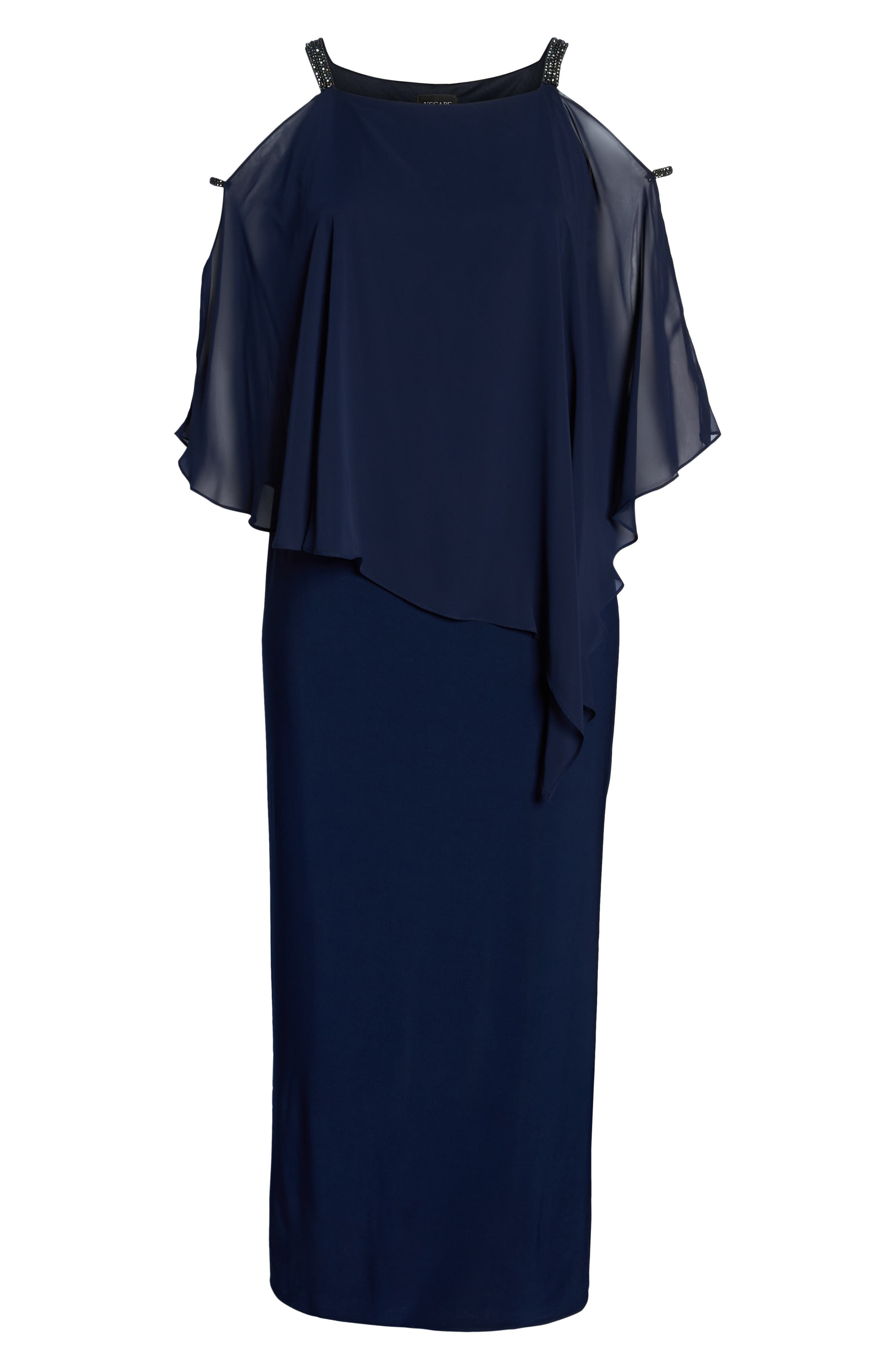 Chiffon Overlay Split Sleeve Gown,                             Alternate thumbnail 7, color,                             NAVY