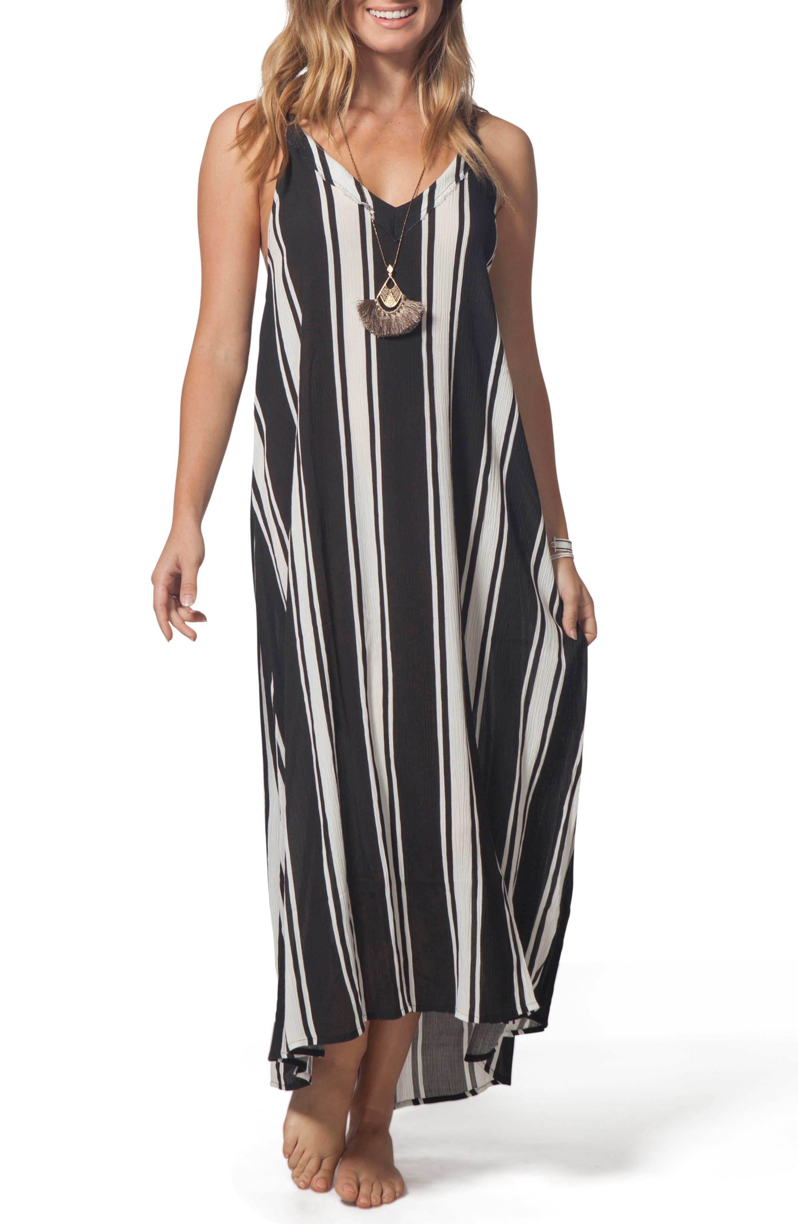 Rip Curl Your Love Stripe Maxi Dress, Black