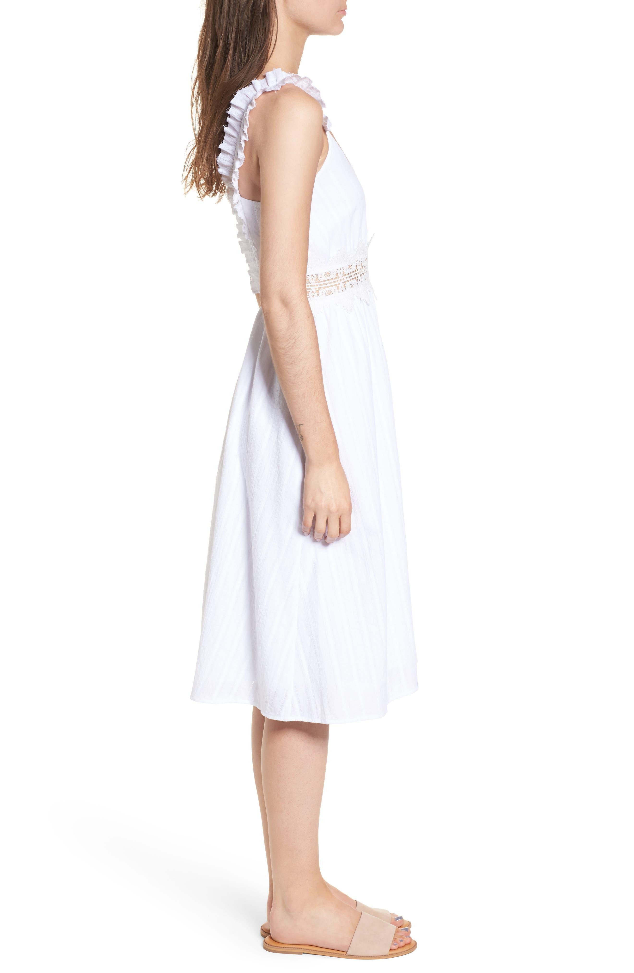 Lace Inset Cotton Dress,                             Alternate thumbnail 3, color,                             100
