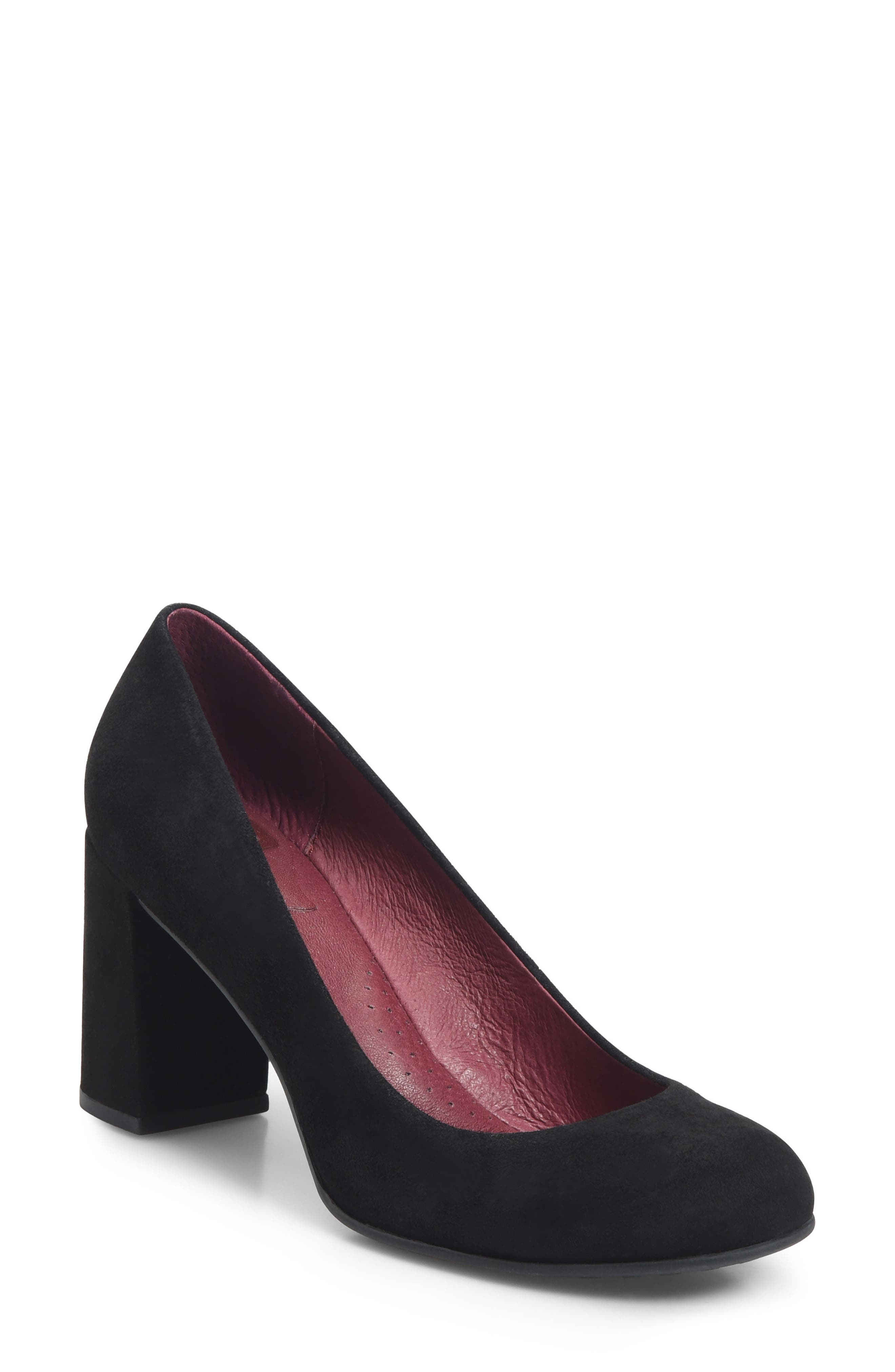 Alpena Block Heel Pump,                         Main,                         color, BLACK SUEDE