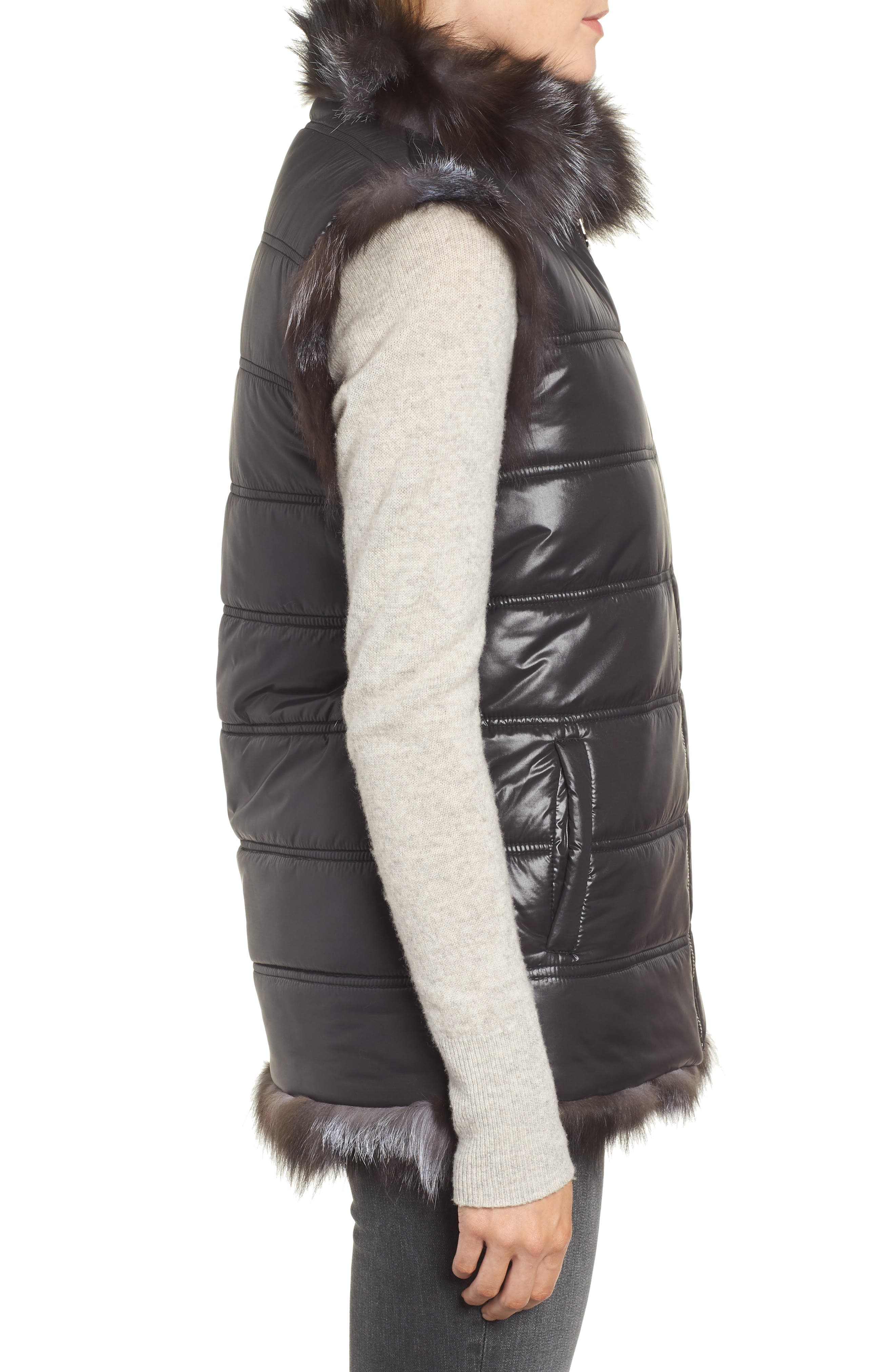 LINDA RICHARDS,                             Reversible Genuine Silver Fox Fur Vest,                             Alternate thumbnail 4, color,                             BLACK/ SILVER