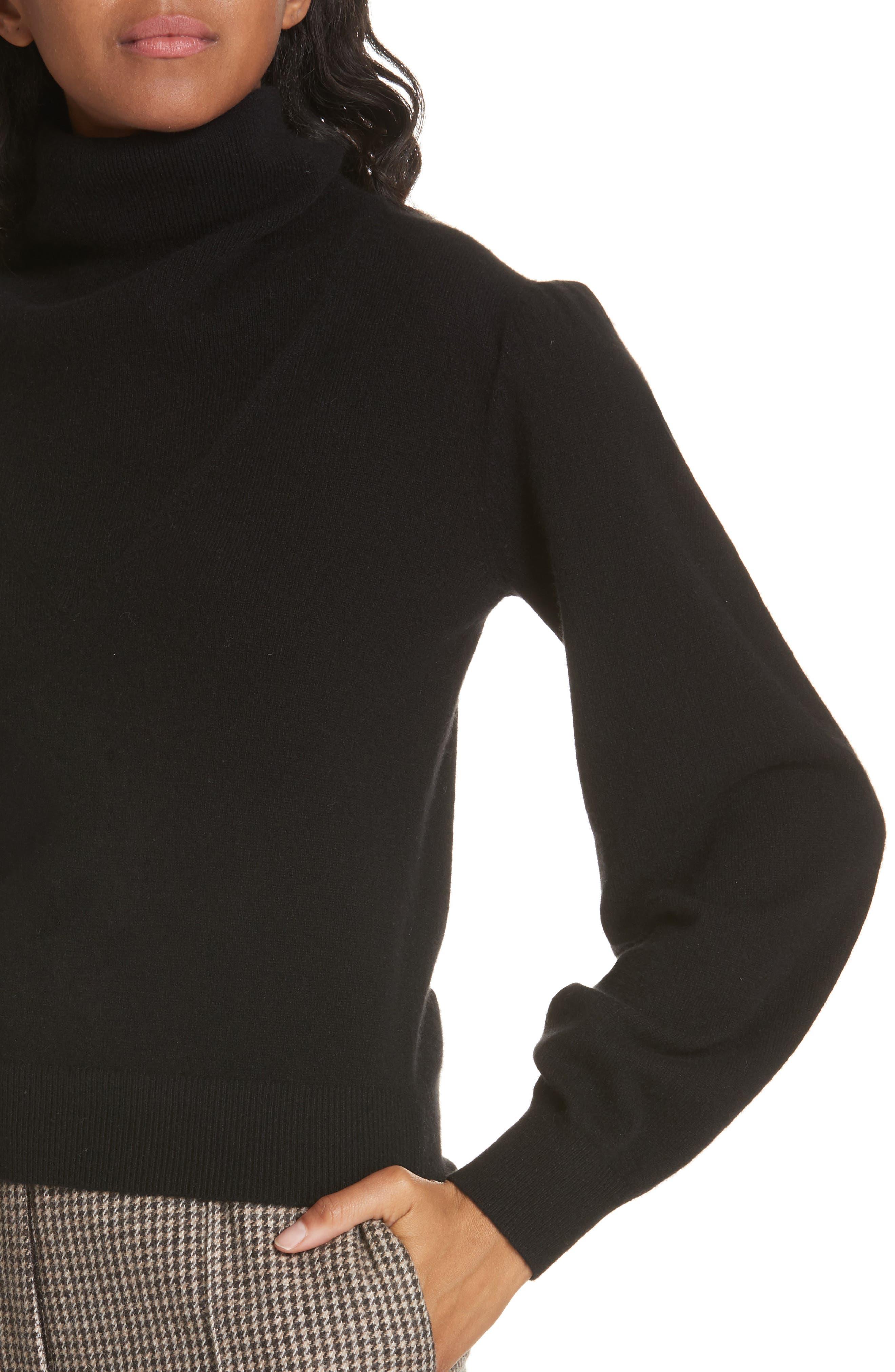 Lilla Puff Sleeve Cashmere Sweater,                             Alternate thumbnail 4, color,                             BLACK