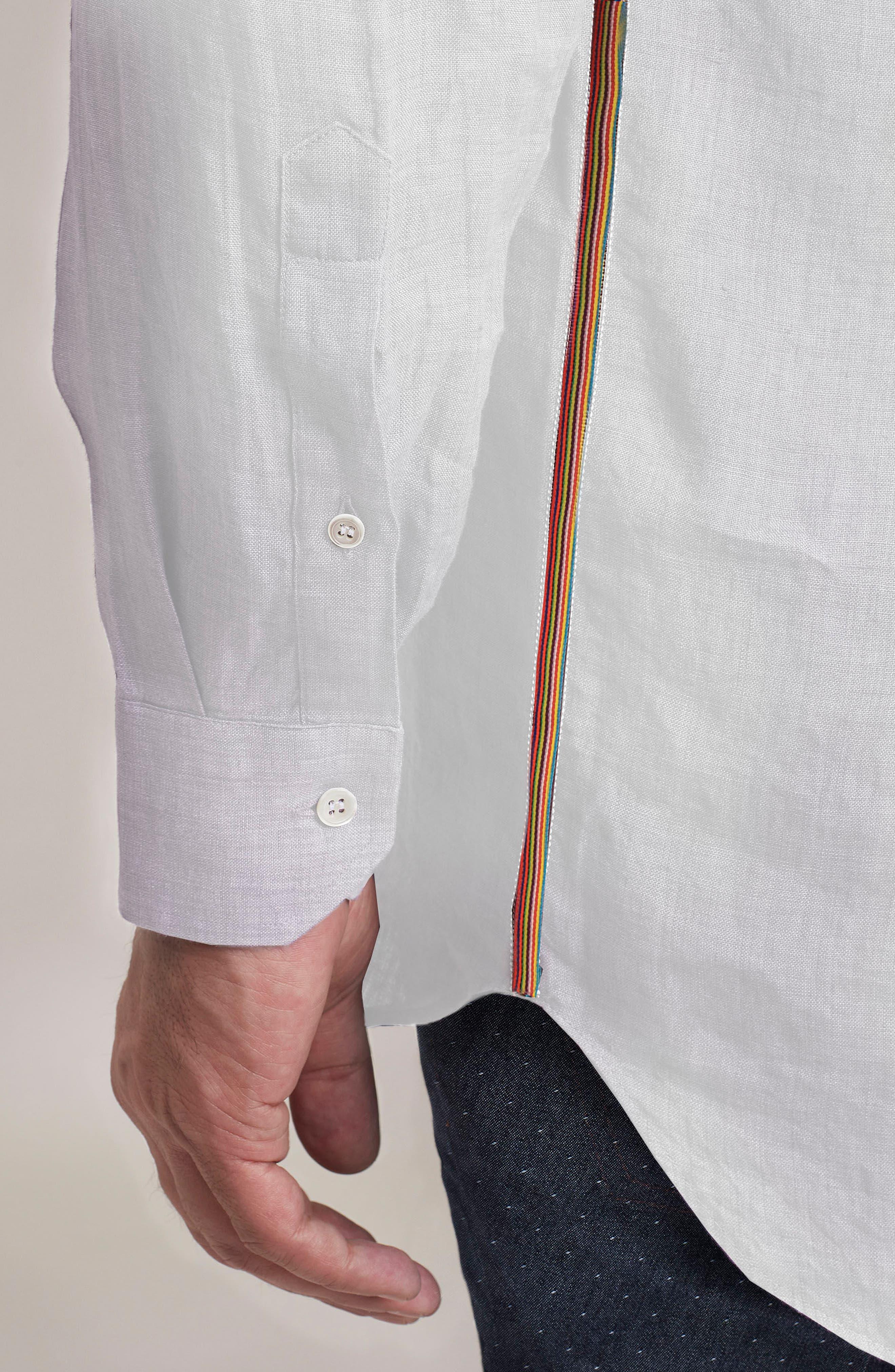 Delave Regular Fit Linen Sport Shirt,                             Alternate thumbnail 4, color,                             100