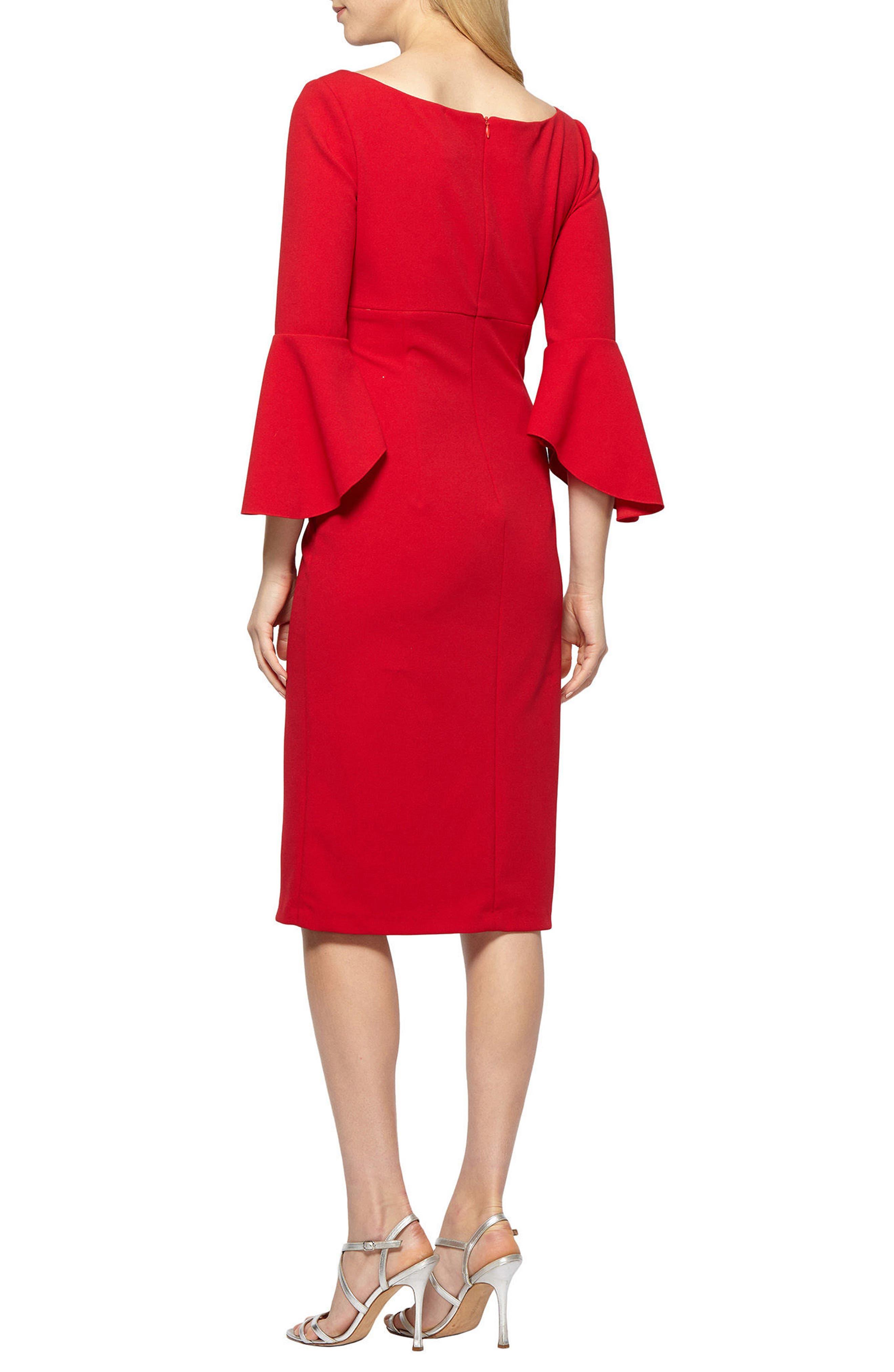 Bell Sleeve Sheath Dress,                             Alternate thumbnail 2, color,                             APPLE RED