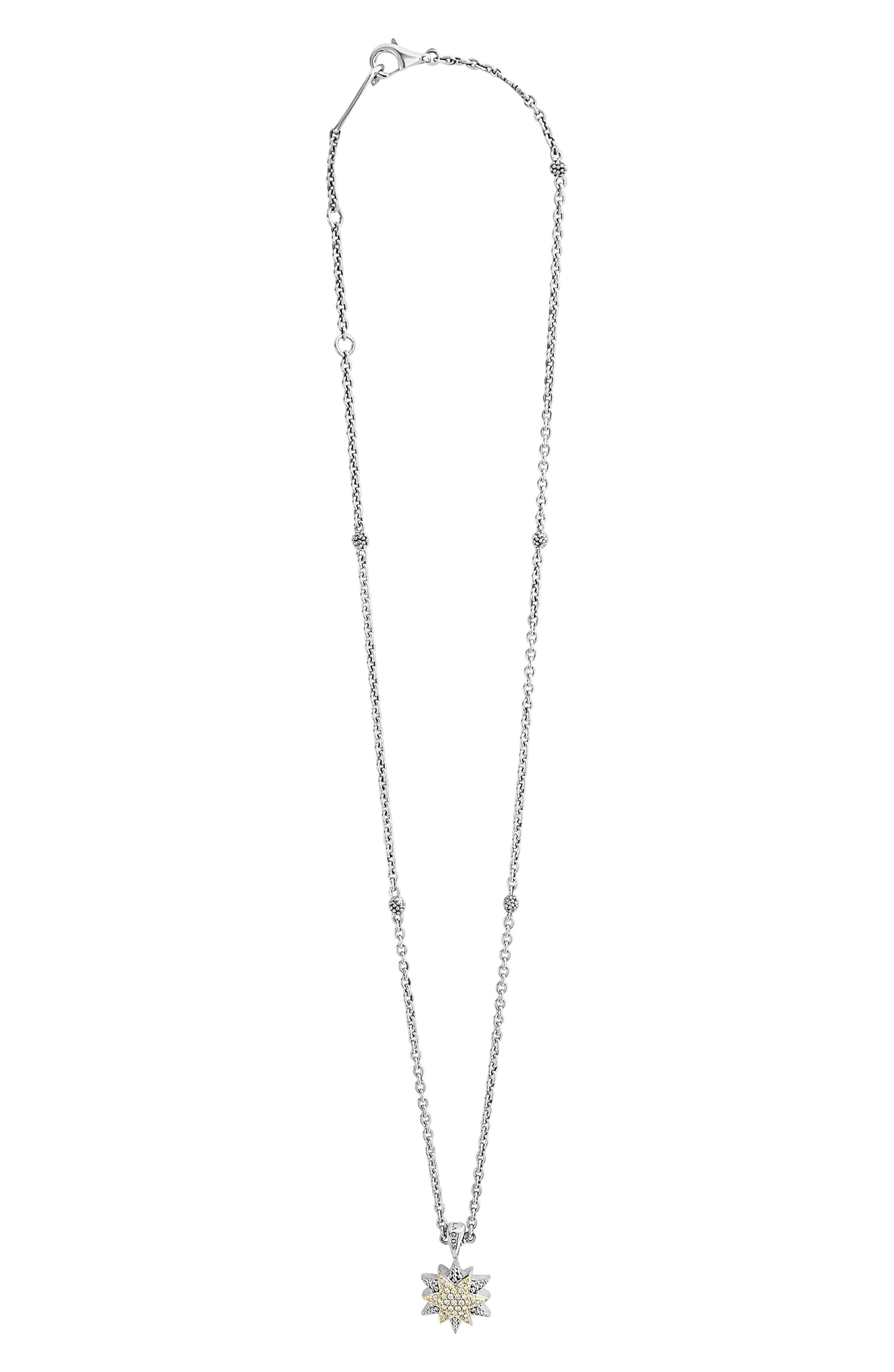 North Star Small Diamond Pendant Necklace,                             Main thumbnail 1, color,                             DIAMOND