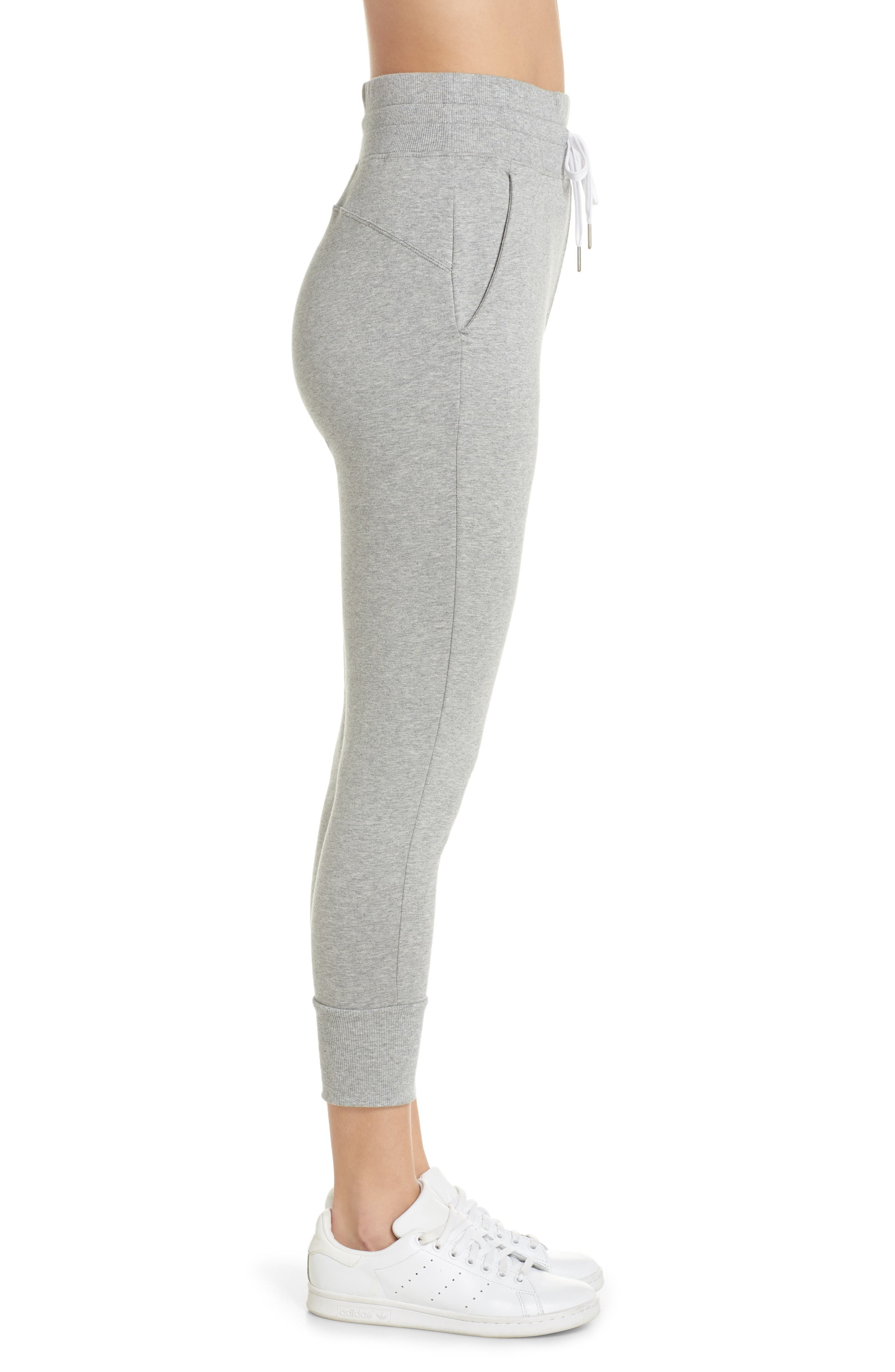 Repeat High Waist Crop Jogger Pants,                             Alternate thumbnail 3, color,                             GREY QUIET HEATHER