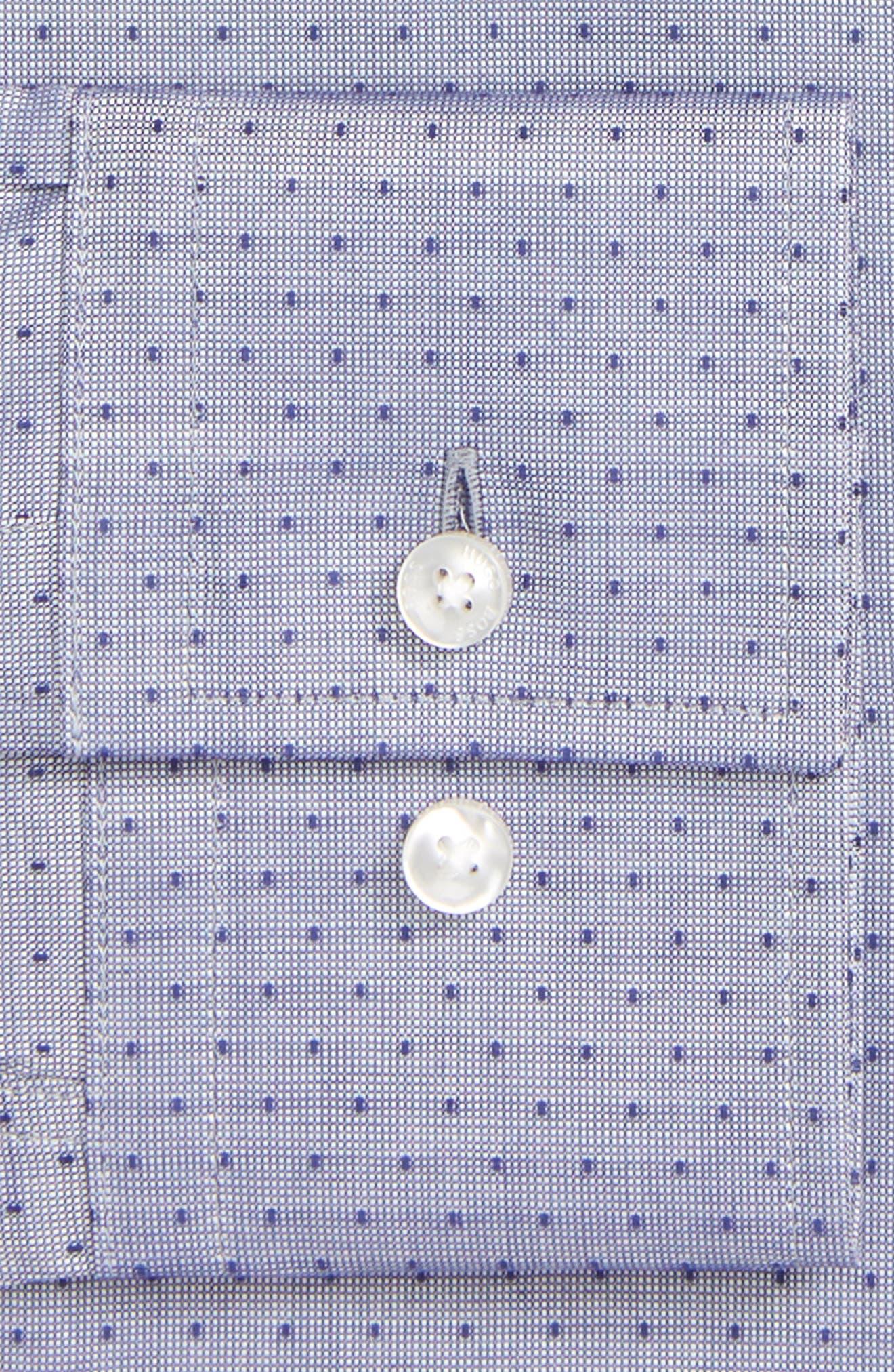 Jason Slim Fit Dot Dress Shirt,                             Alternate thumbnail 6, color,                             NAVY