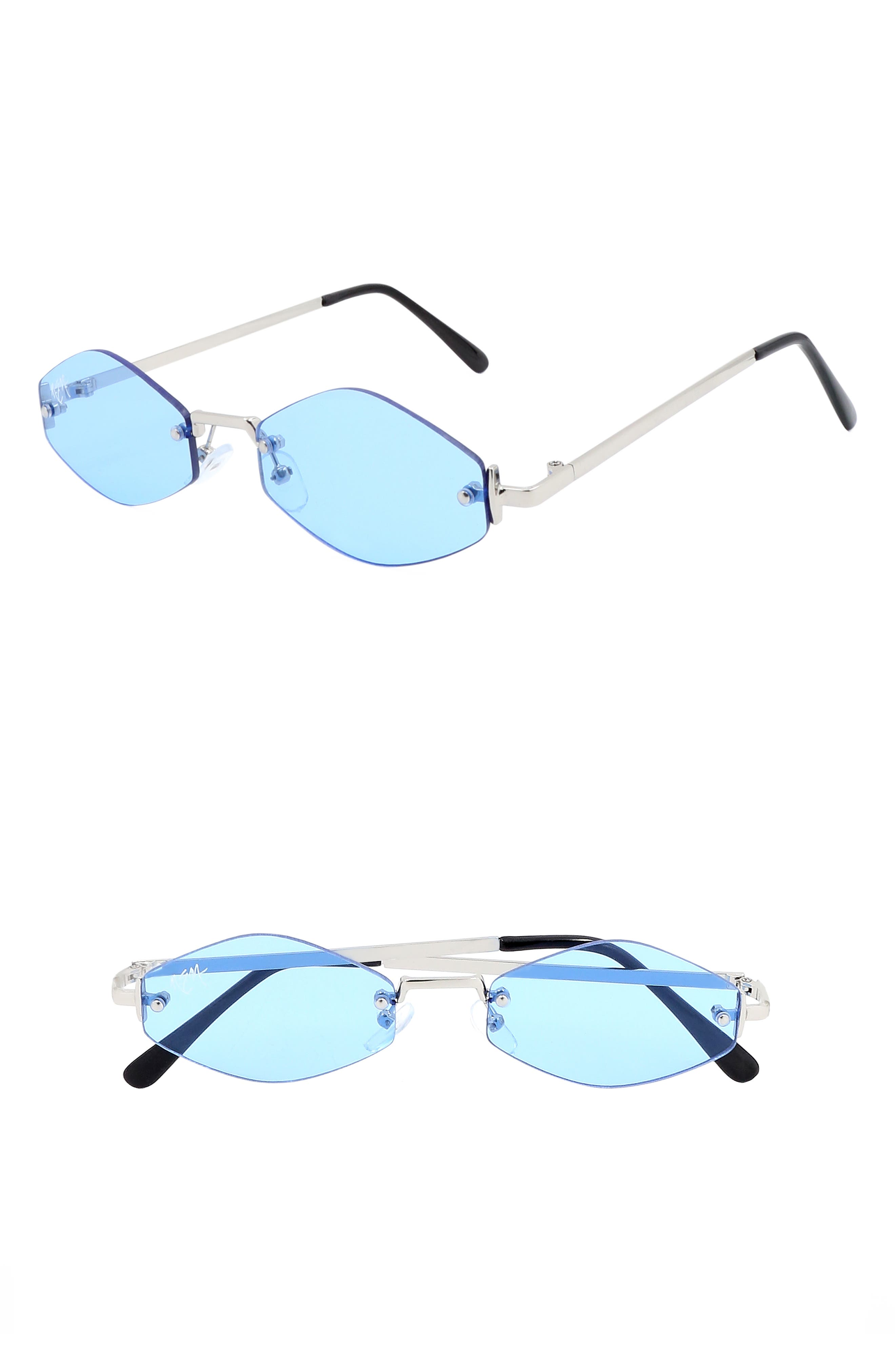 Retro 55mm Rimless Geometric Sunglasses,                             Main thumbnail 1, color,                             BABY BLUE/ SILVER