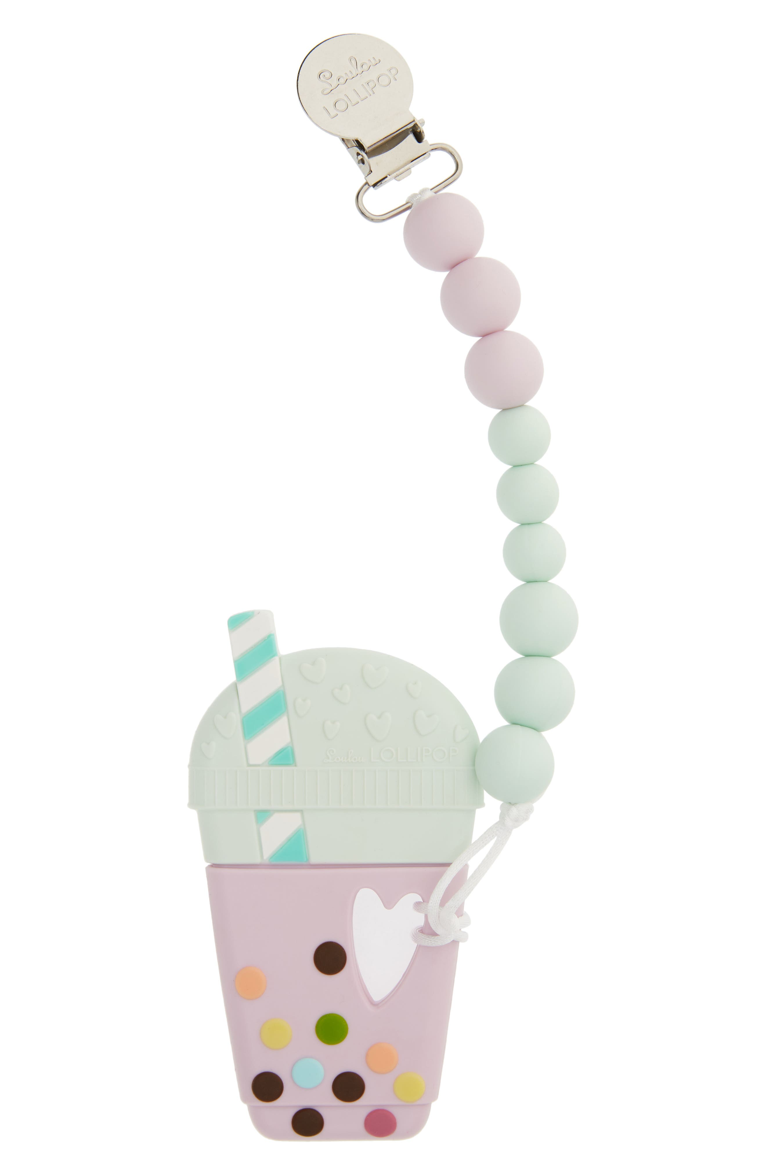 Taro Teething Toy & Holder, Main, color, LILAC/ MINT