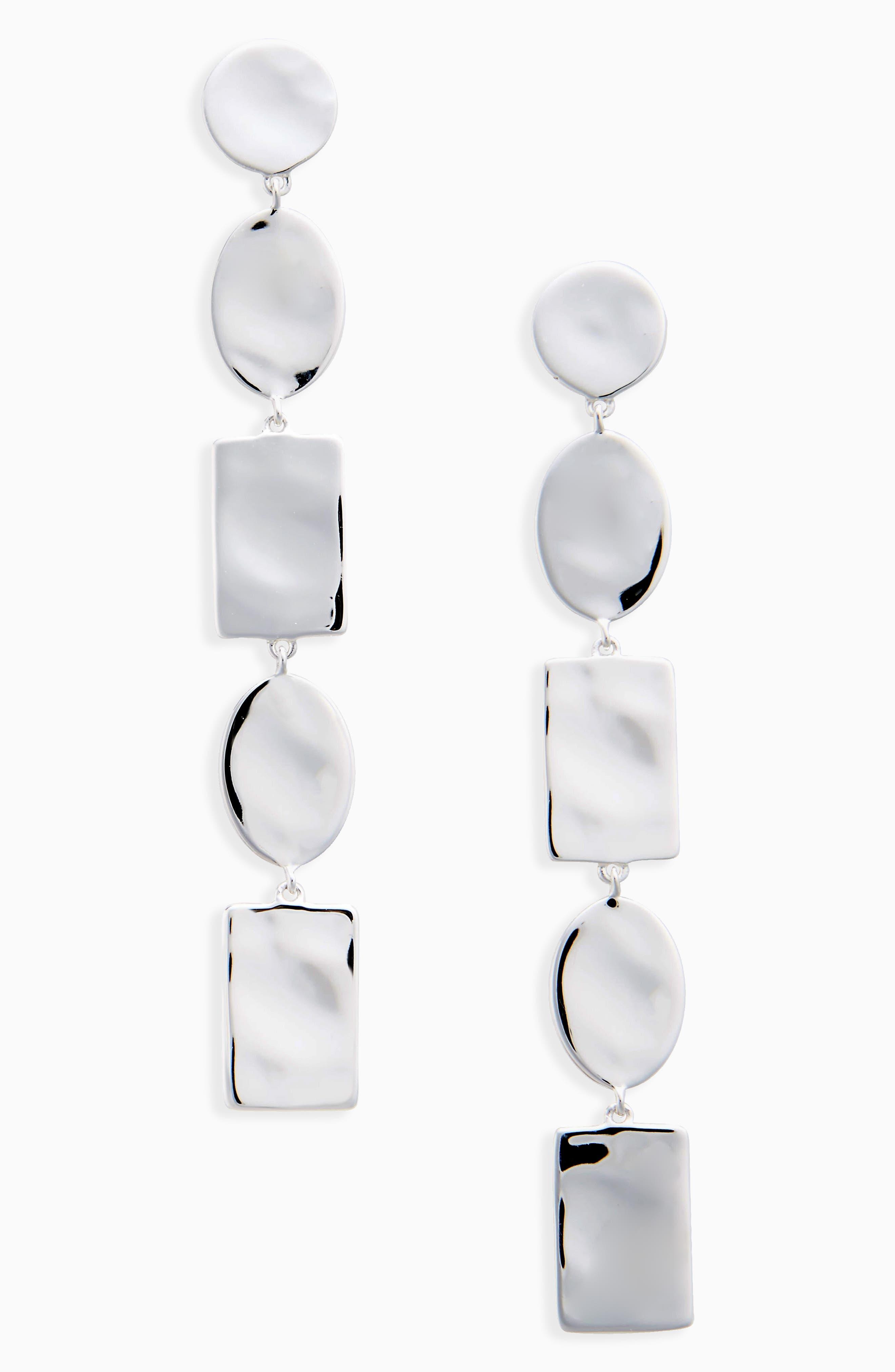 Oval & Rectangle Disc Drop Earrings,                             Main thumbnail 1, color,                             SILVER