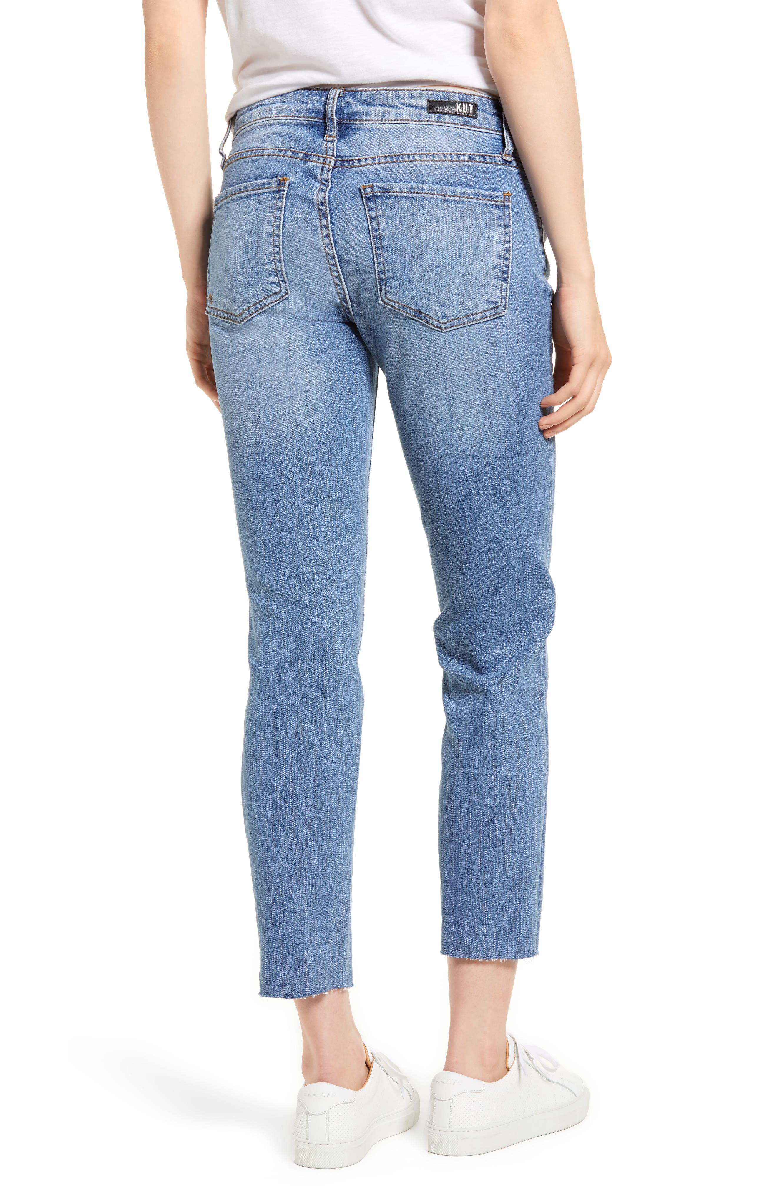 Reese Ripped Raw Edge Ankle Jeans,                             Alternate thumbnail 2, color,