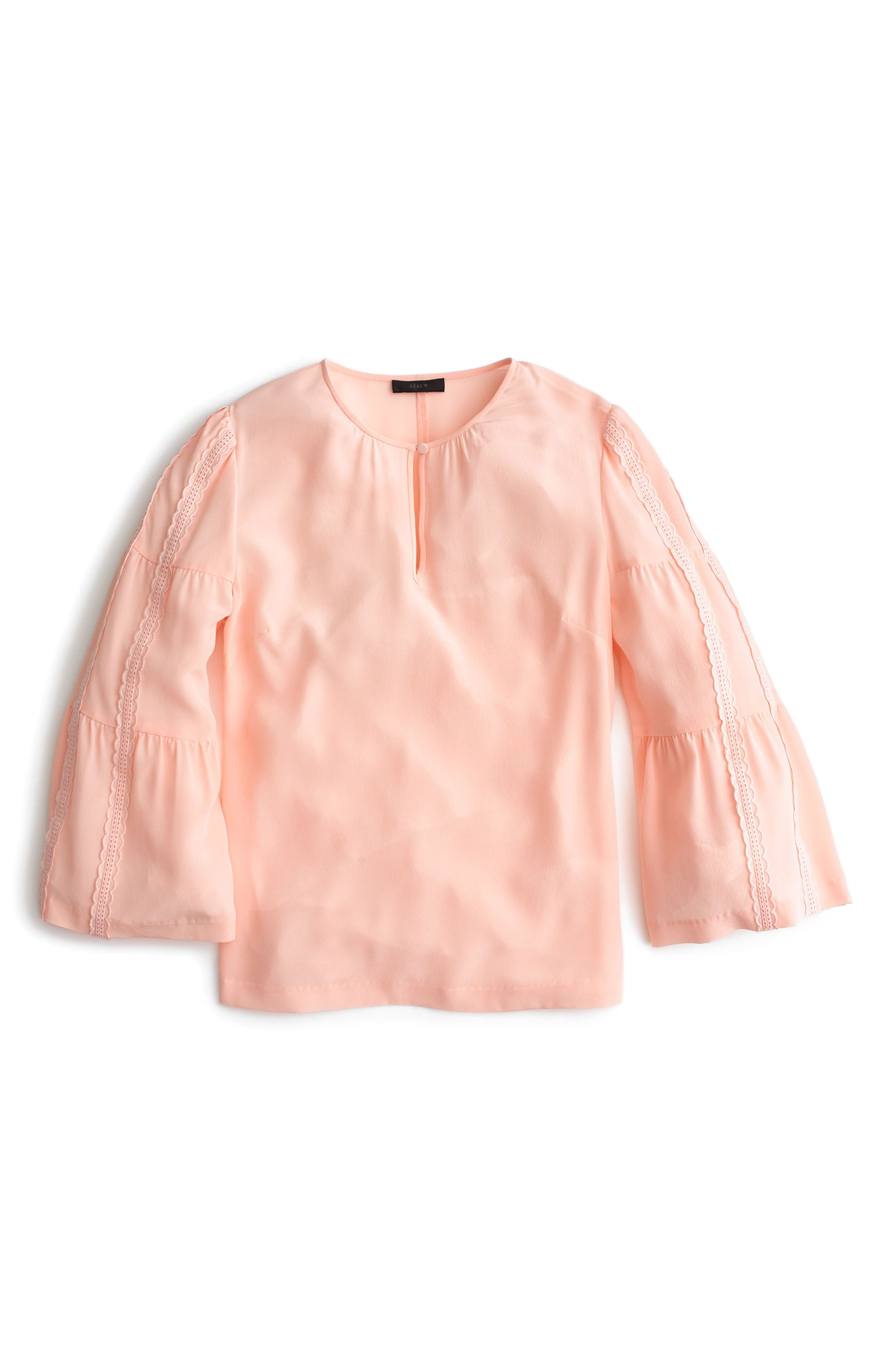 Embroidered Bell Sleeve Silk Top,                             Main thumbnail 2, color,