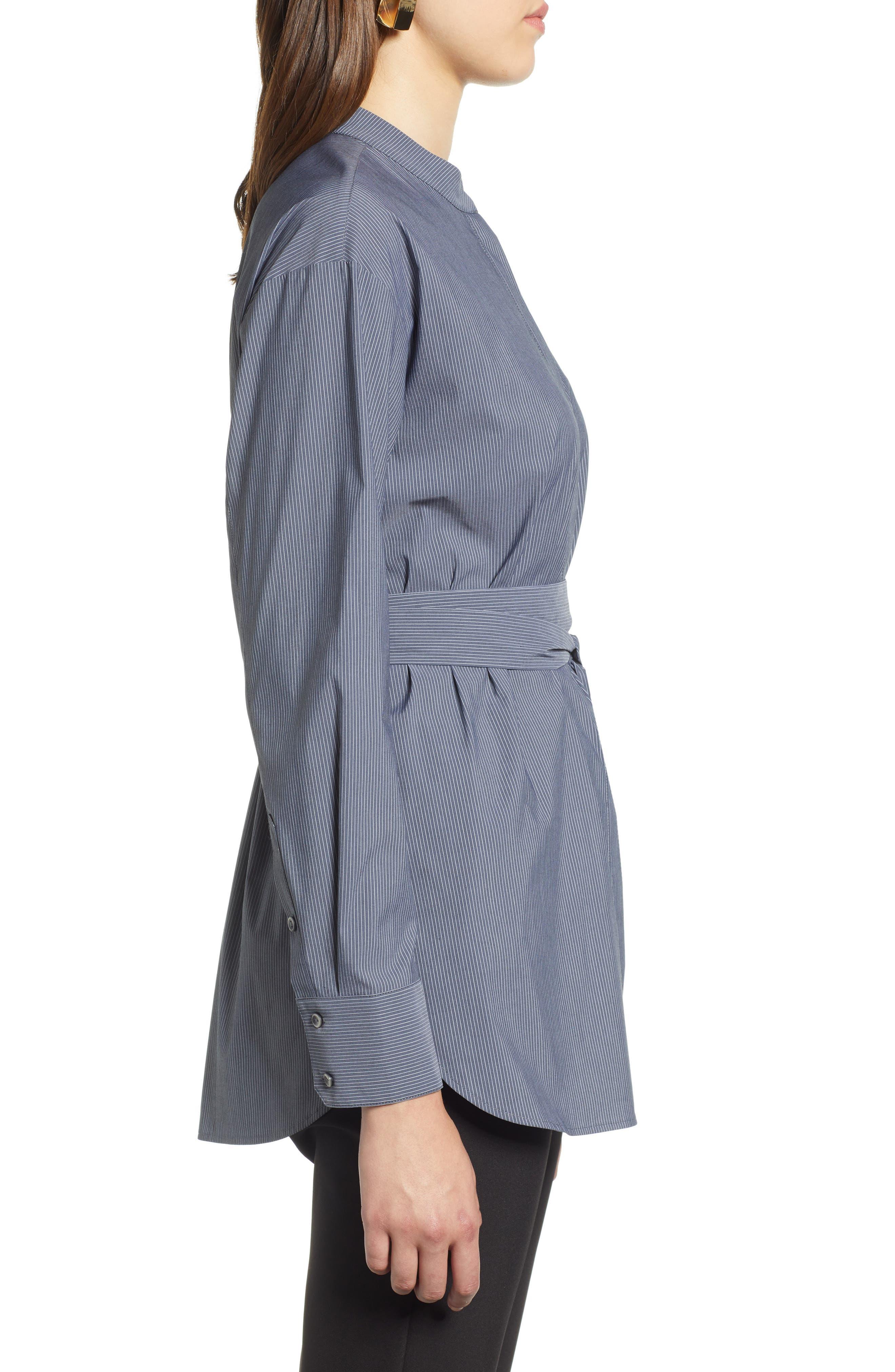 Belted Poplin Shirt,                             Alternate thumbnail 3, color,                             001