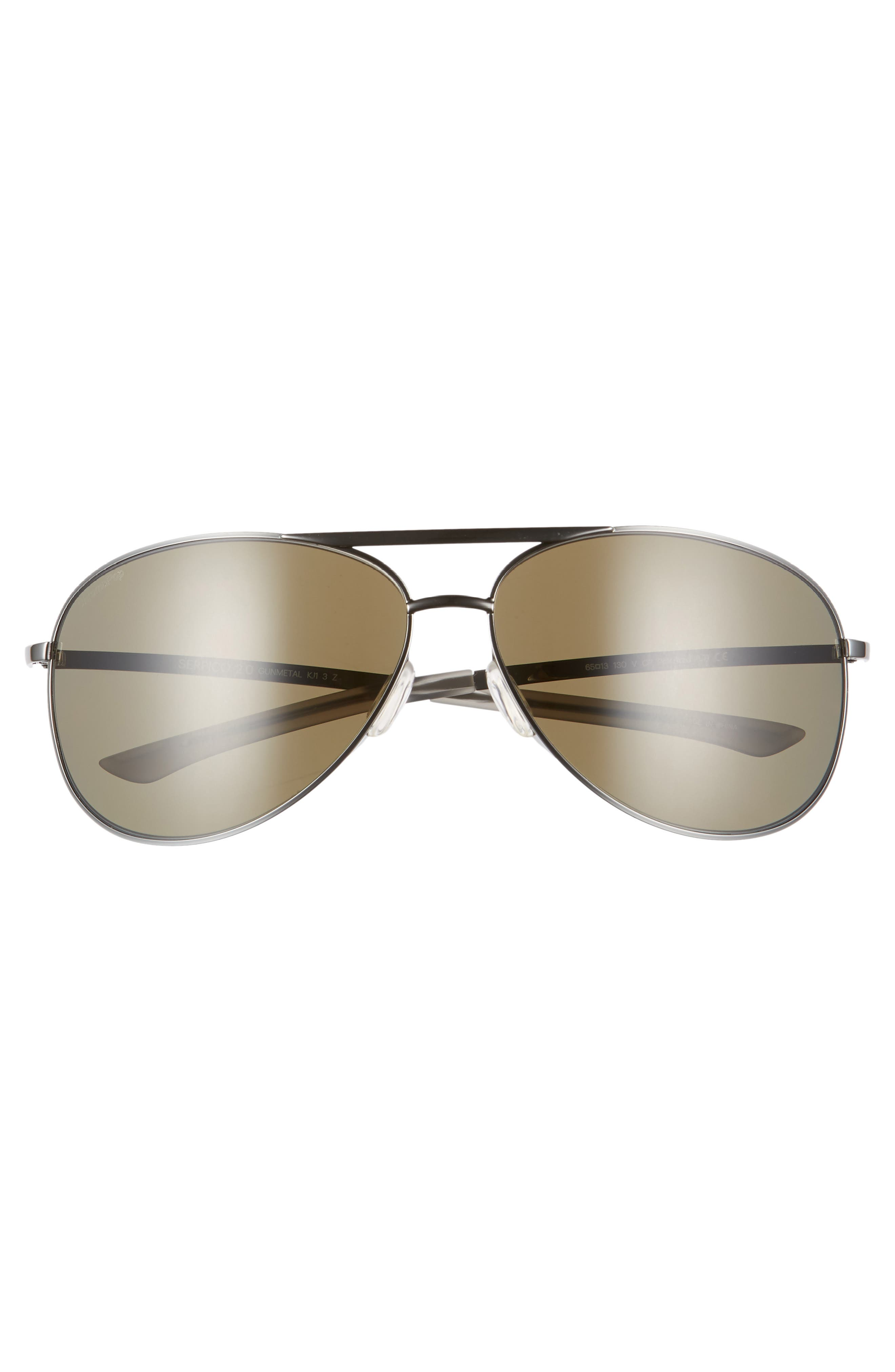 Serpico 2 65mm Mirrored ChromaPop<sup>™</sup> Polarized Aviator Sunglasses,                             Alternate thumbnail 2, color,                             GUNMETAL