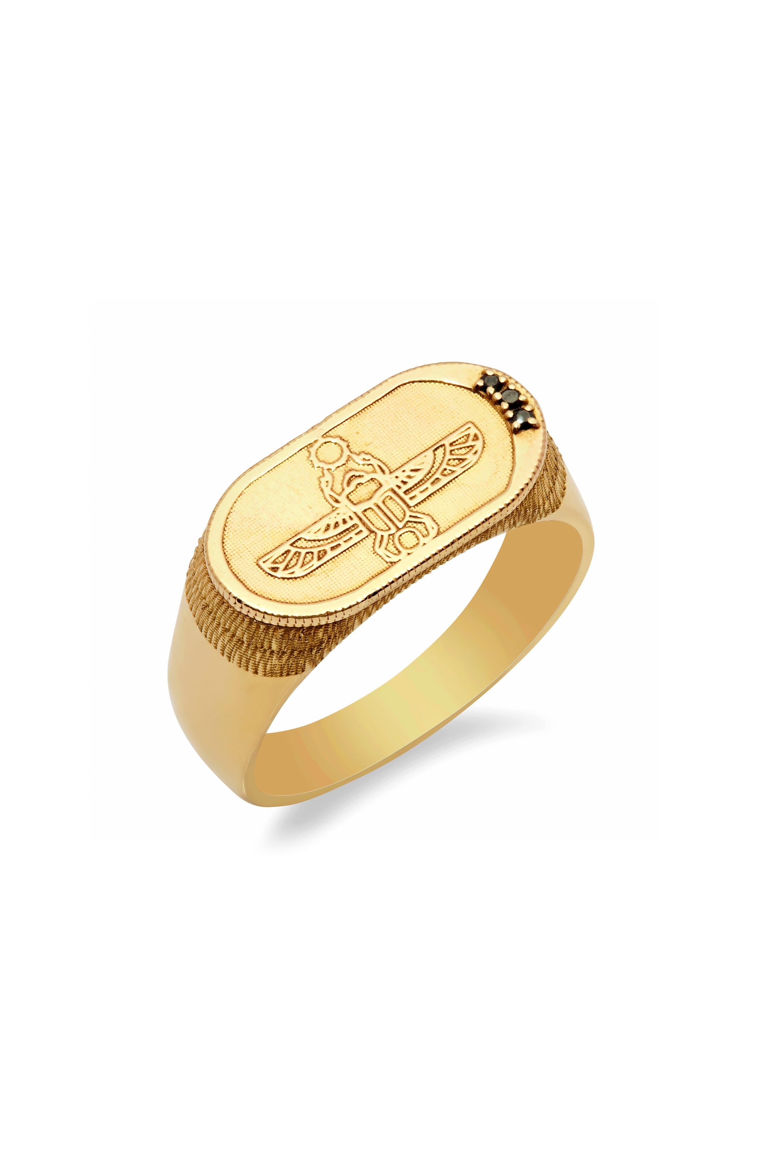 Congés Old School Black Diamond Scarab Ring,                         Main,                         color, YELLOW GOLD