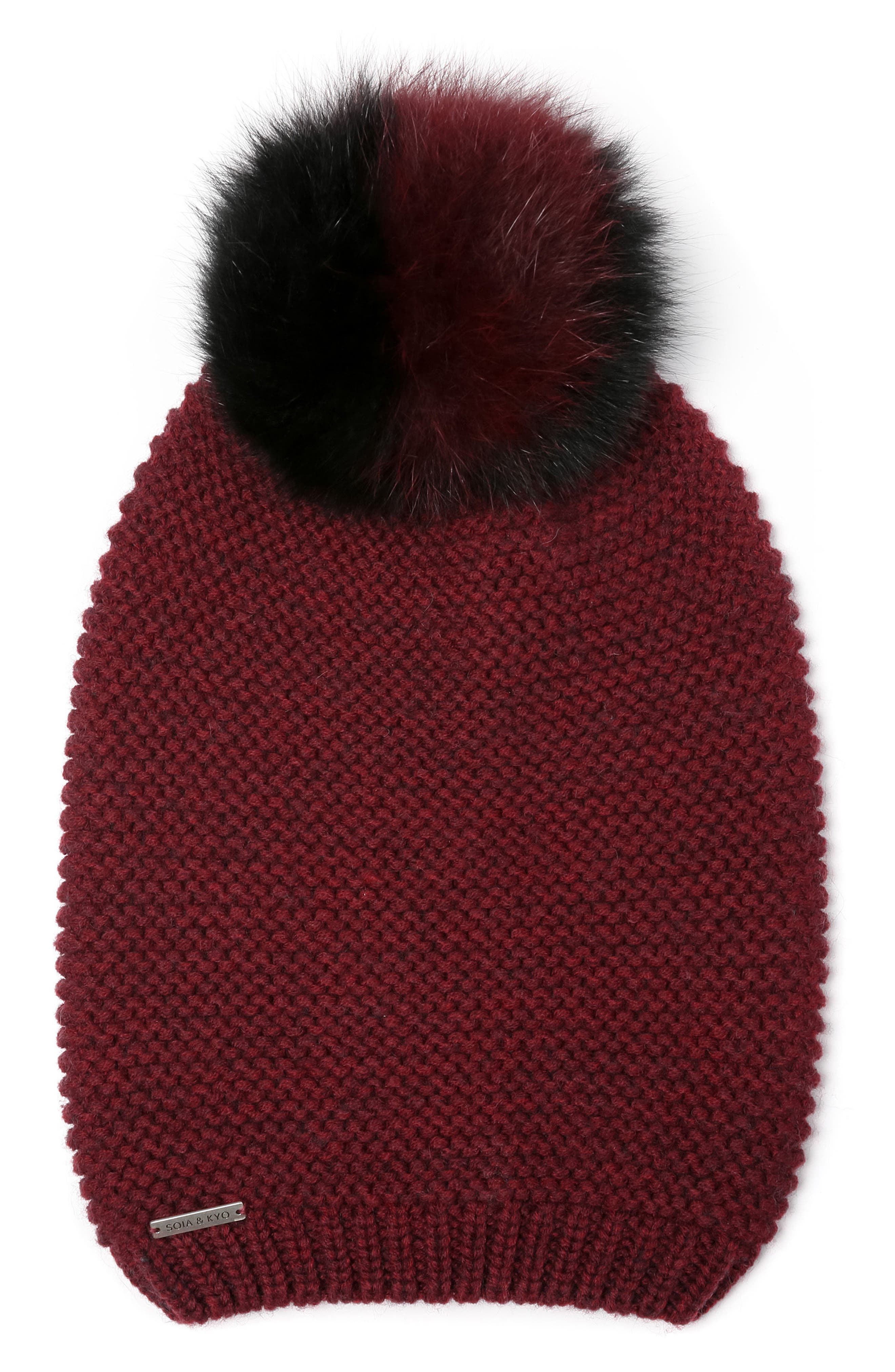 Slouchy Knit Beanie with Genuine Fox Fur Pompom,                             Main thumbnail 2, color,