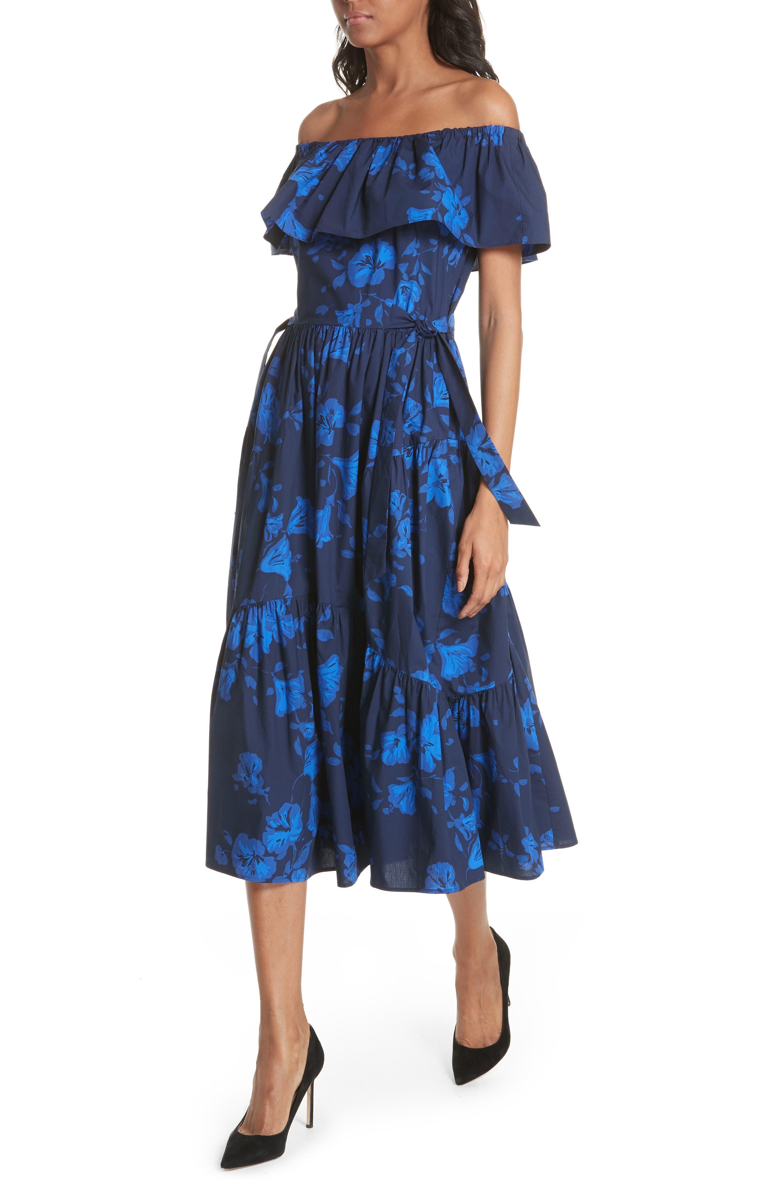 hibiscus off the shoulder cotton dress,                             Alternate thumbnail 4, color,