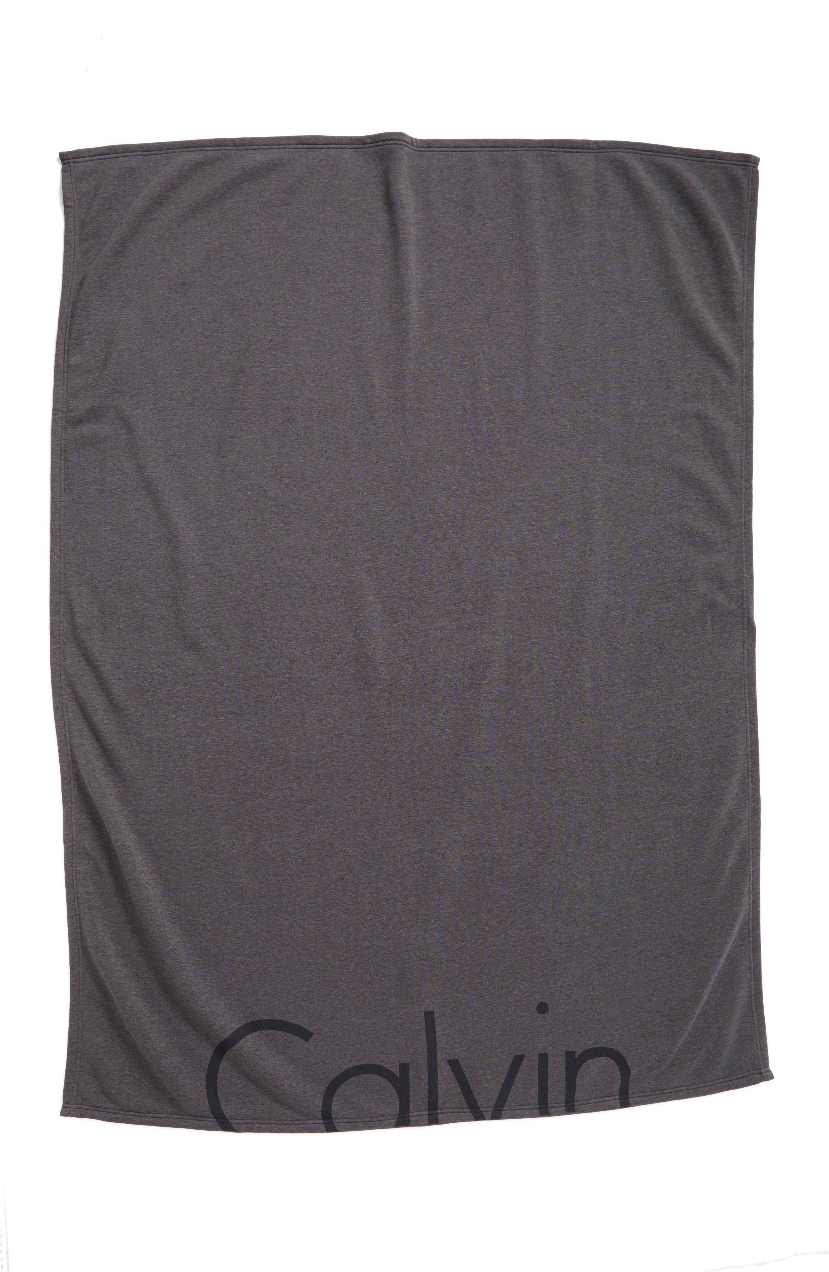 Calvin Klein Logo Throw,                             Alternate thumbnail 4, color,                             CHARCOAL