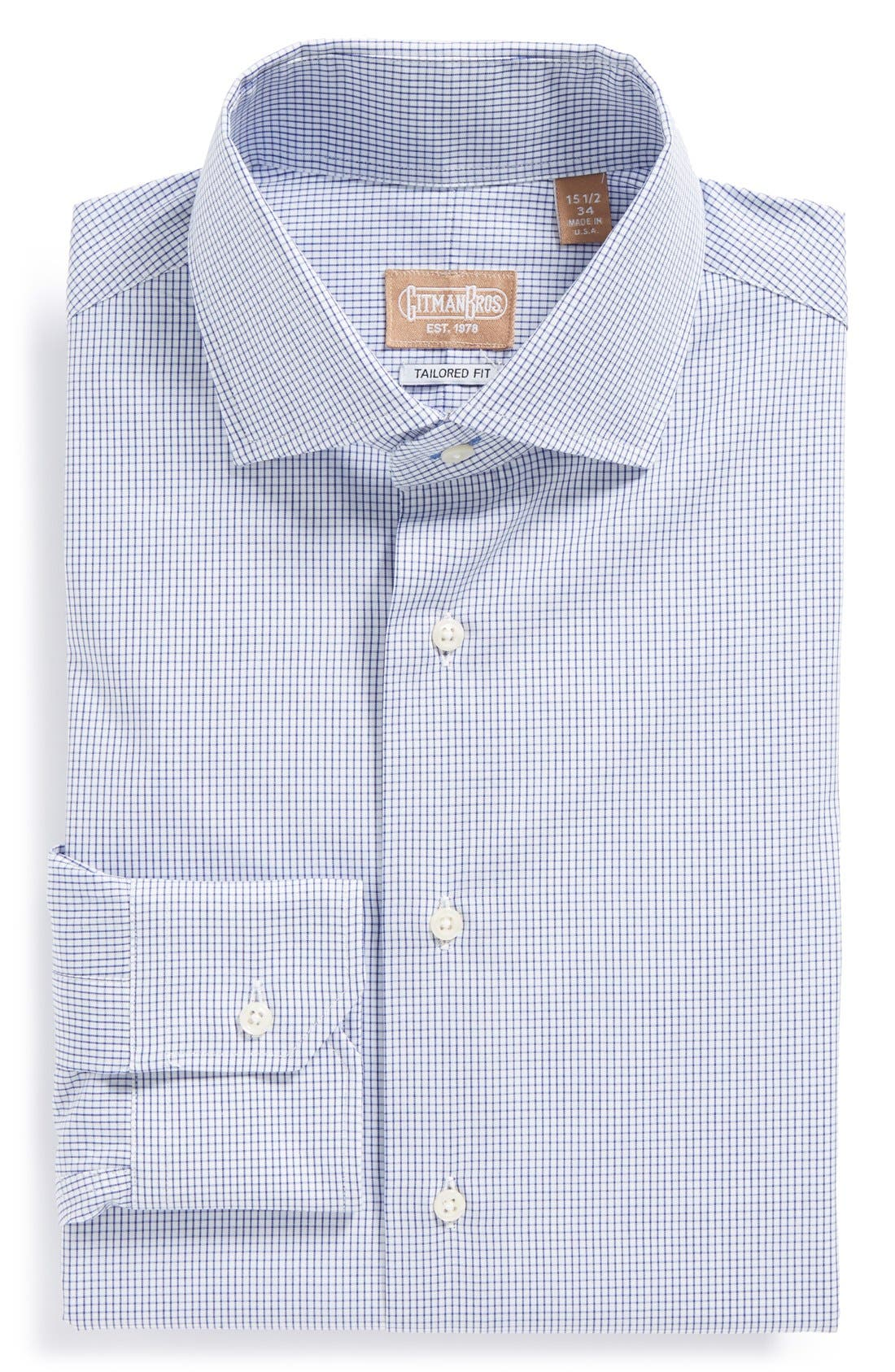 Tailored Fit Gingham Dress Shirt,                         Main,                         color, NAVY