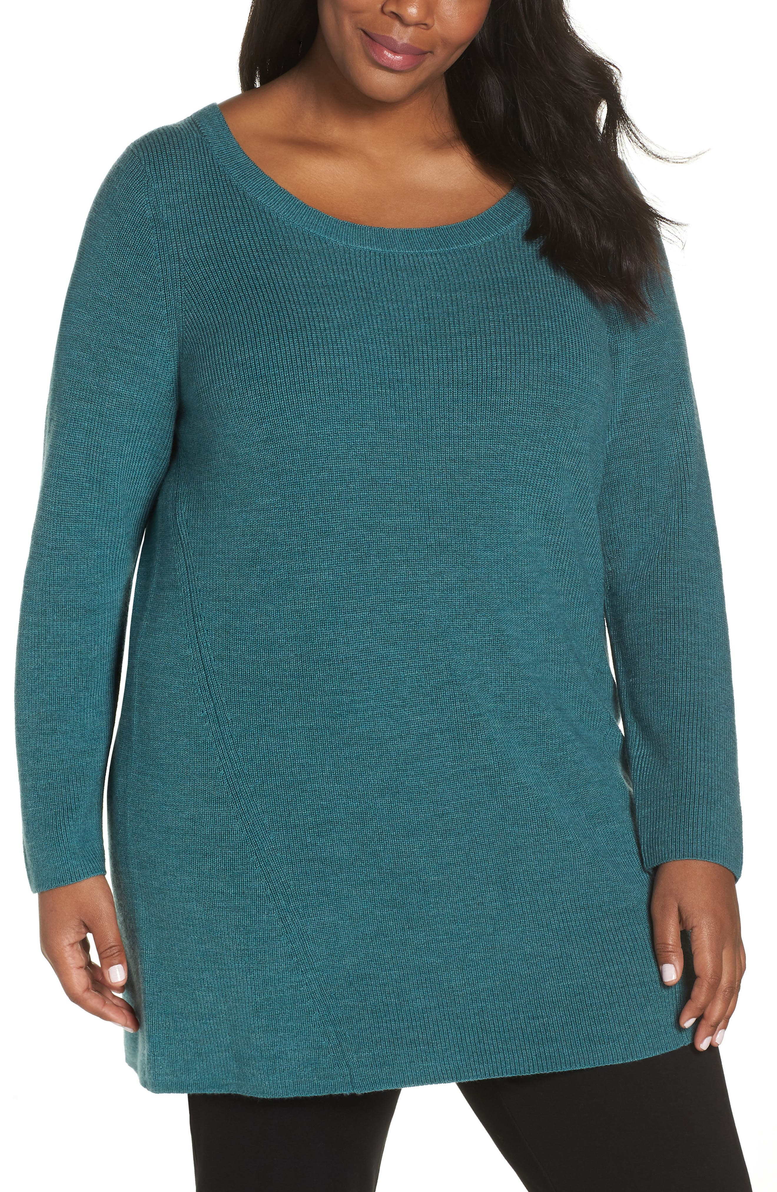 EILEEN FISHER Merino Wool Tunic Sweater, Main, color, DRAGONFLY