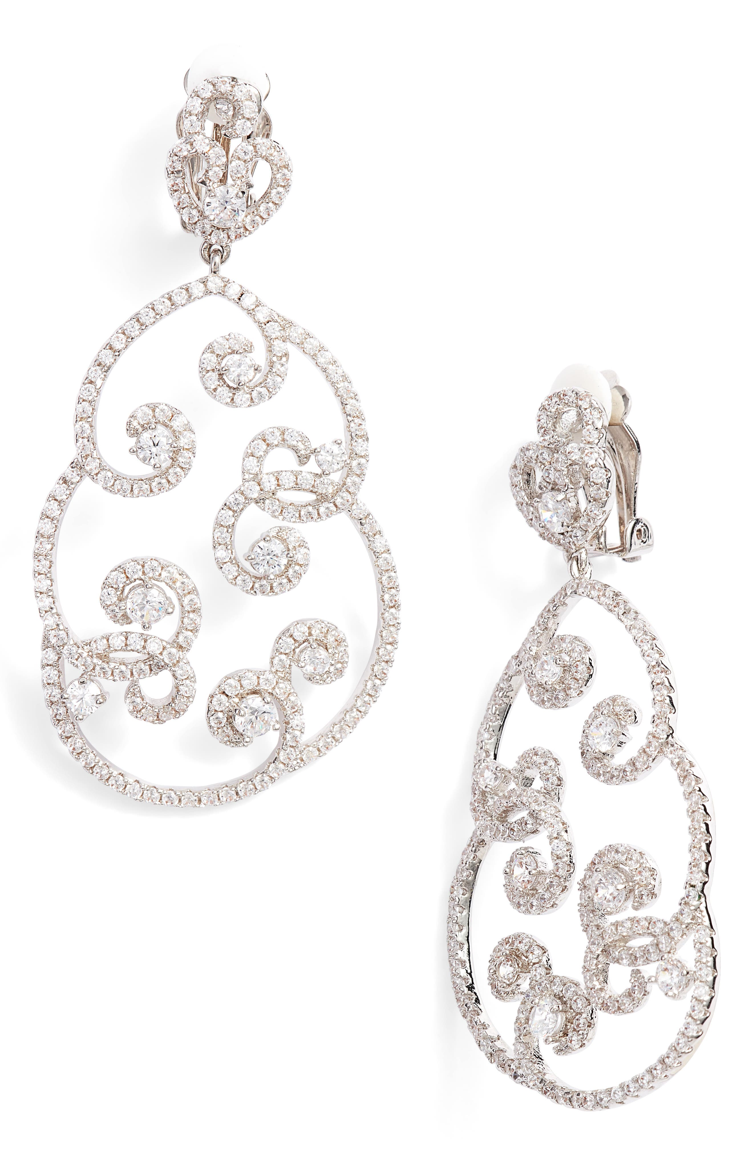 Swirl Pavé Clip-On Drop Earrings,                             Main thumbnail 1, color,                             SILVER/ WHITE CZ