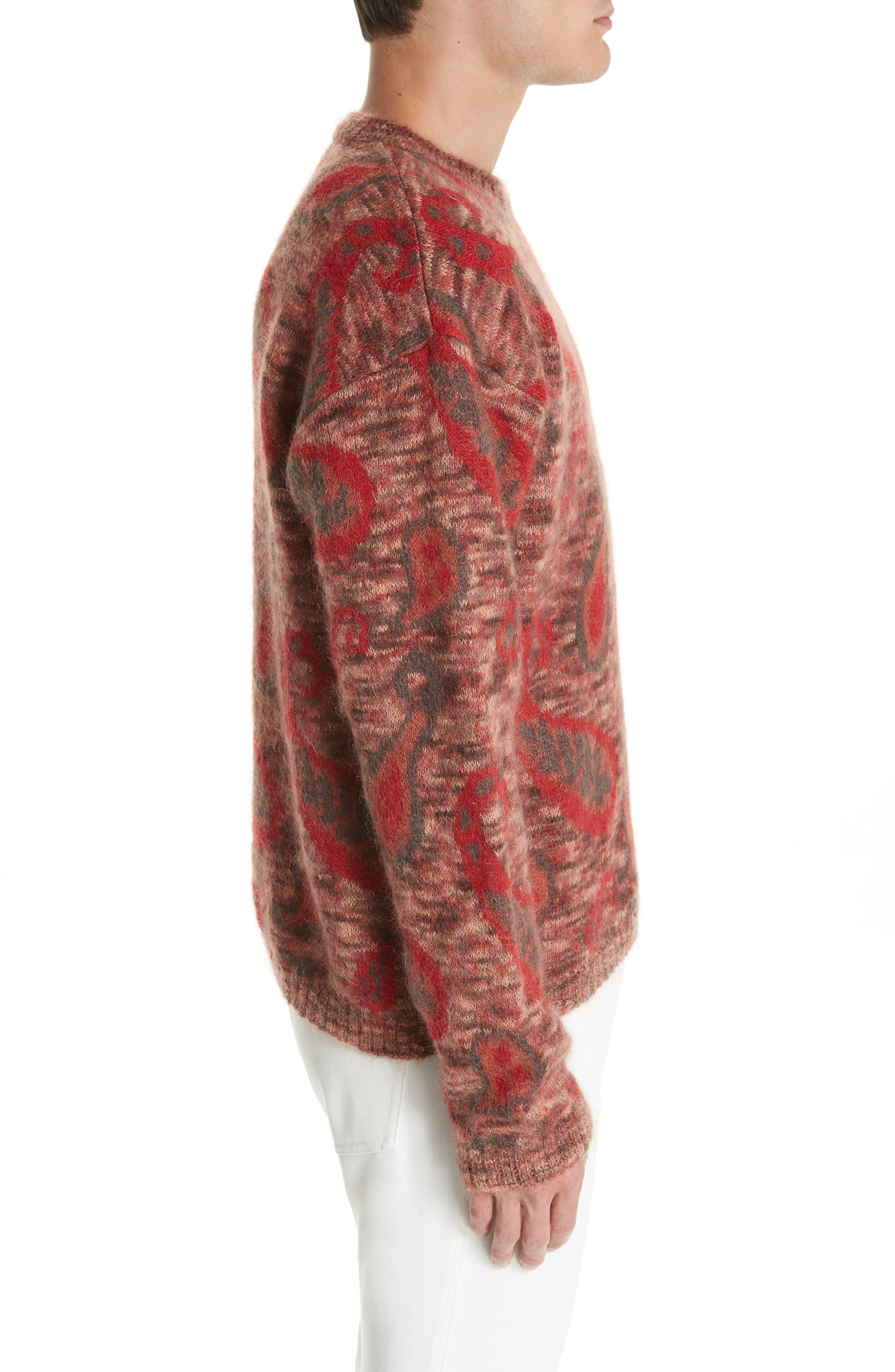 Mohair Blend Paisley Sweater,                             Alternate thumbnail 3, color,                             600