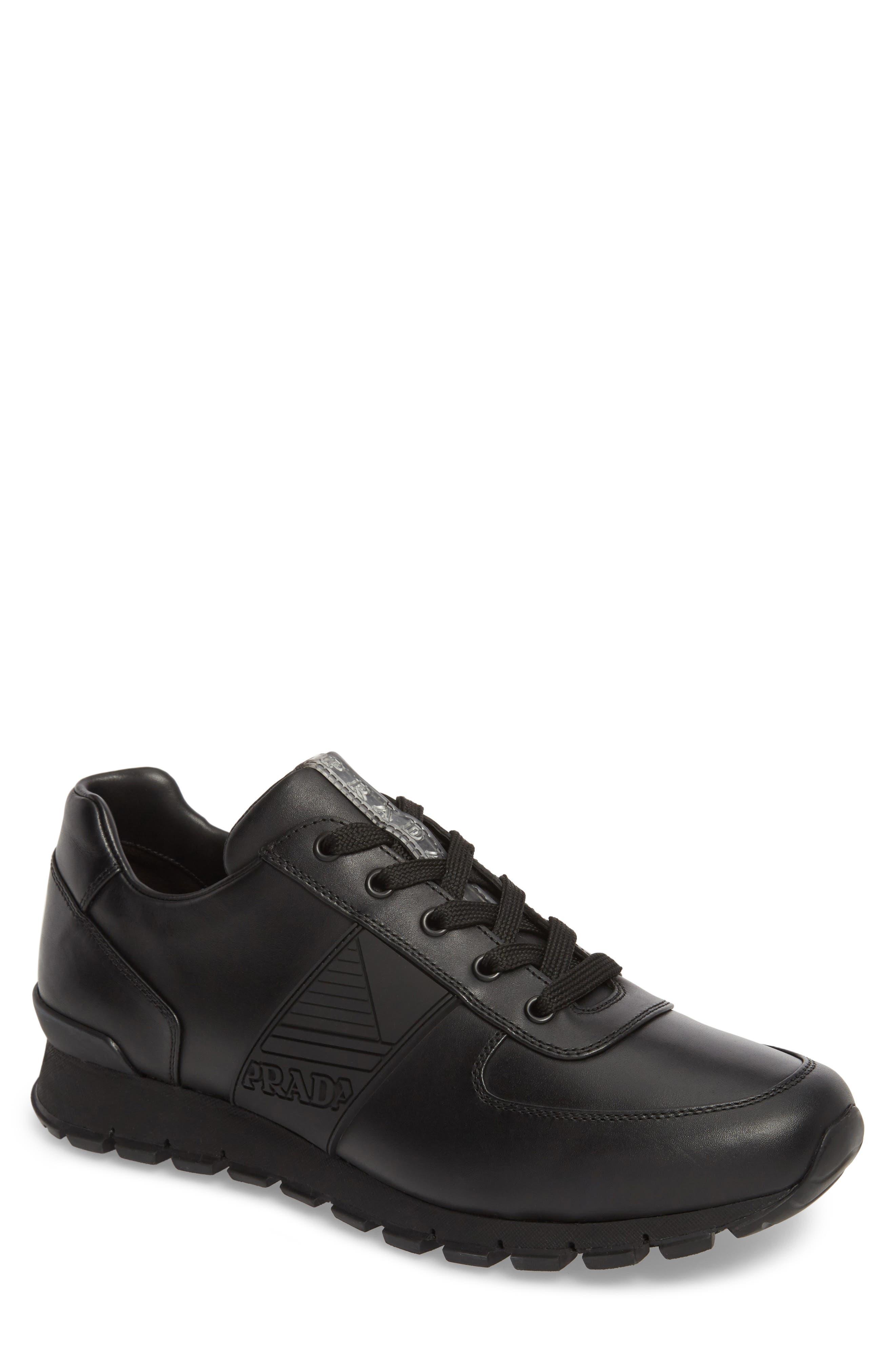 PRADA,                             Linea Rossa Sneaker,                             Main thumbnail 1, color,                             001