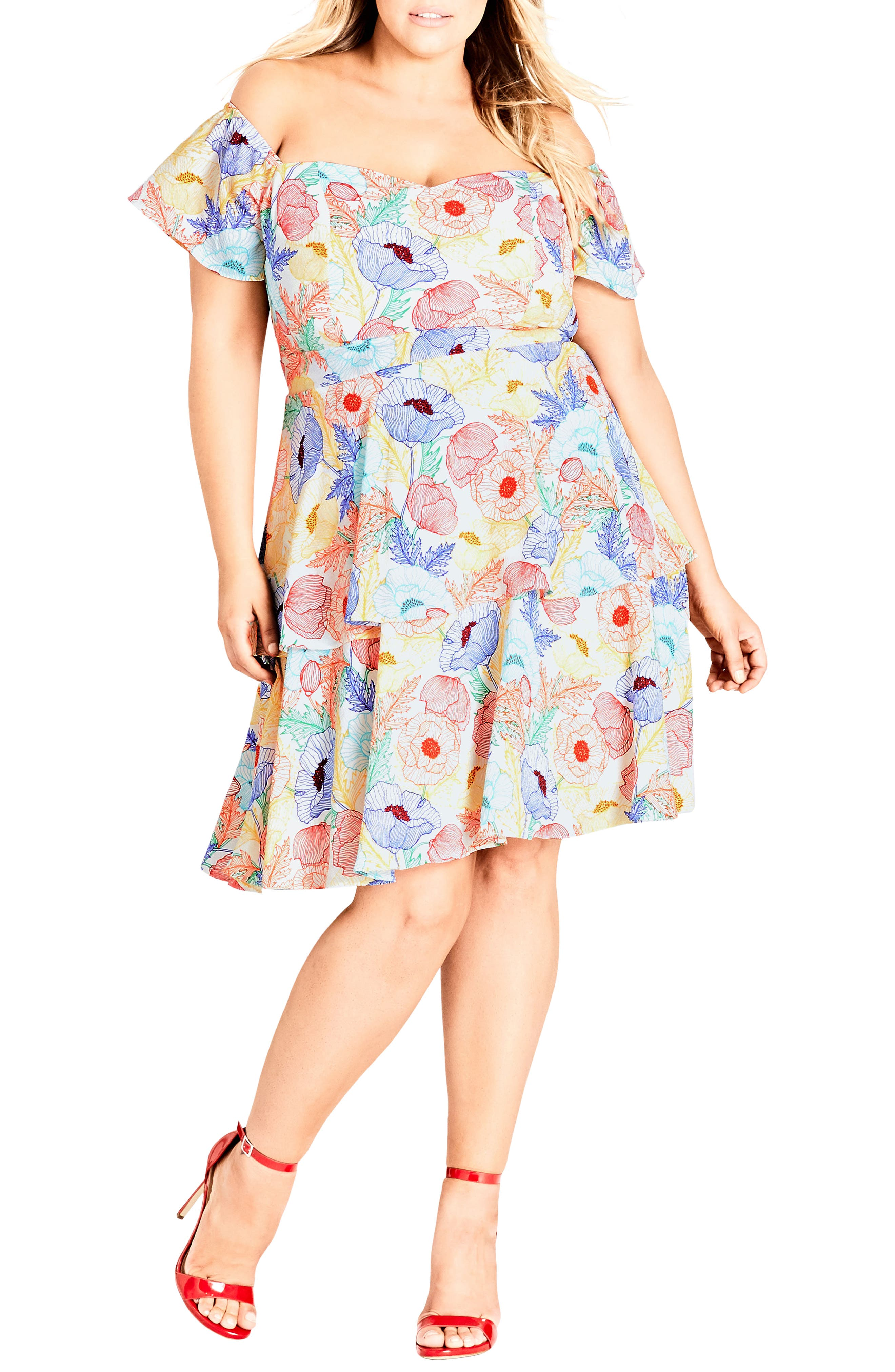 Plus Size City Chic Etched Poppy Off The Shoulder Dress, White