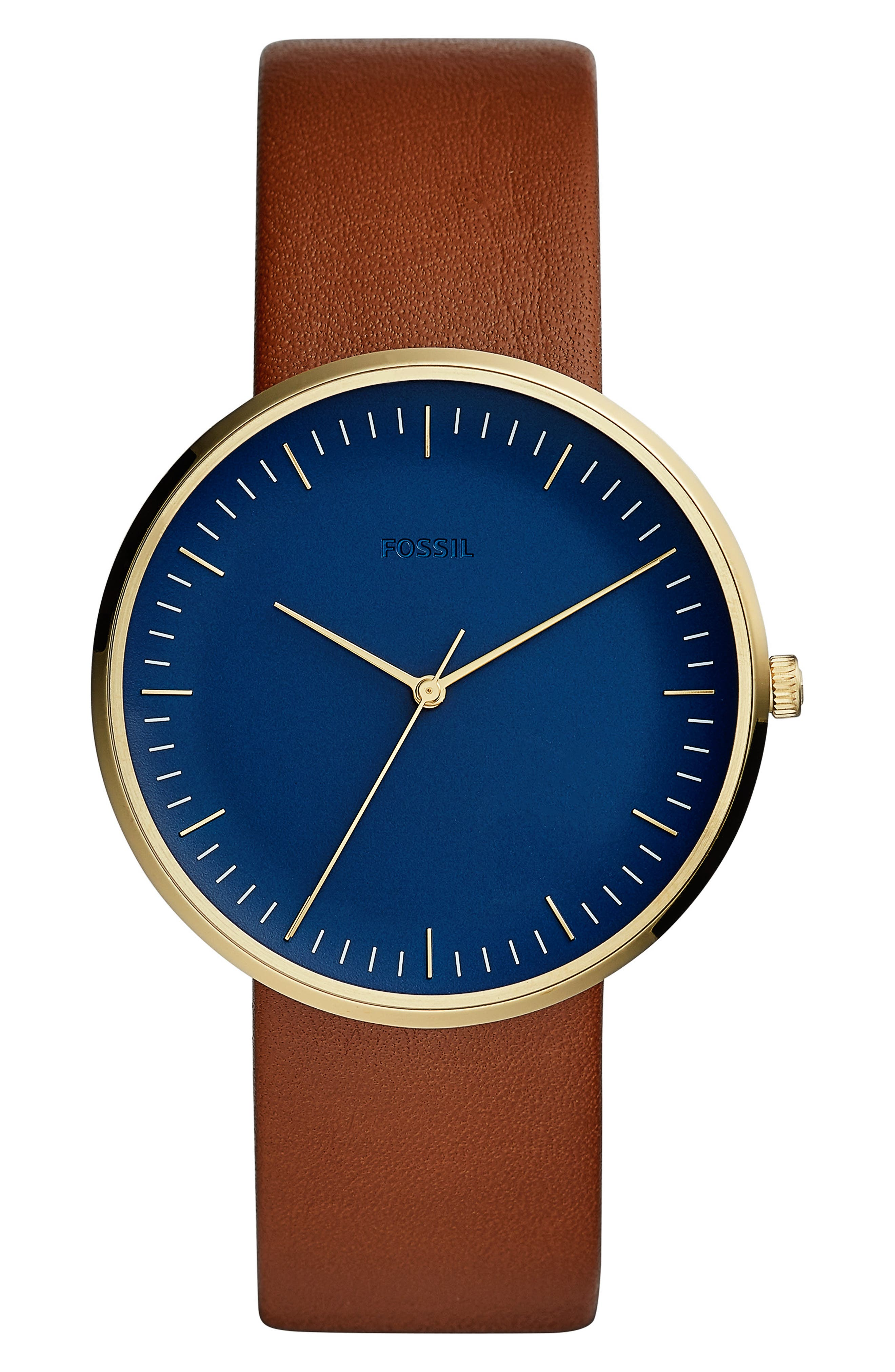 Essentialist Leather Strap Watch, 42mm,                         Main,                         color, BROWN/ BLUE/ GOLD