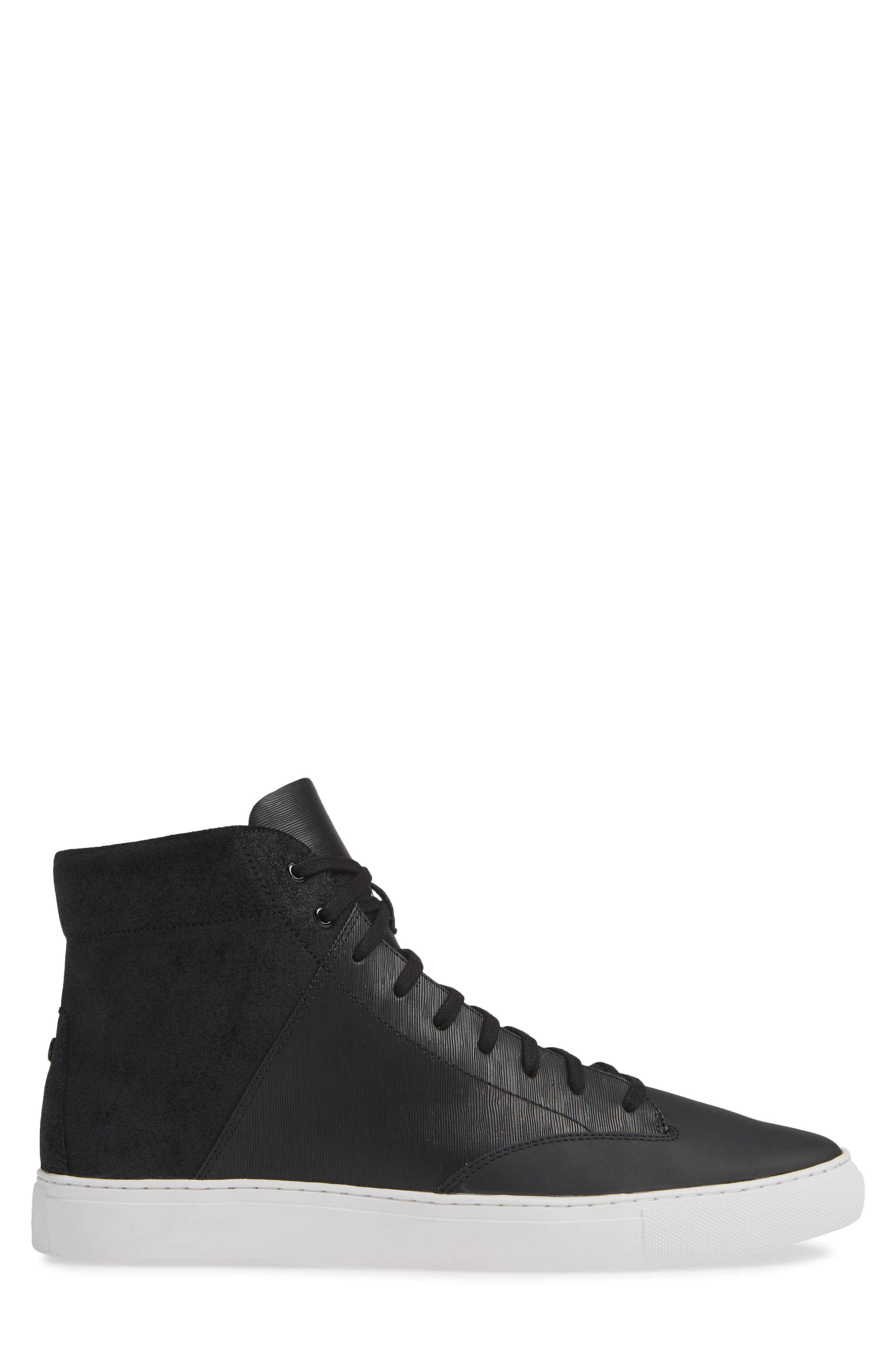 'Porter' High Top Sneaker,                             Alternate thumbnail 3, color,                             BLACK SUEDE/ LEATHER