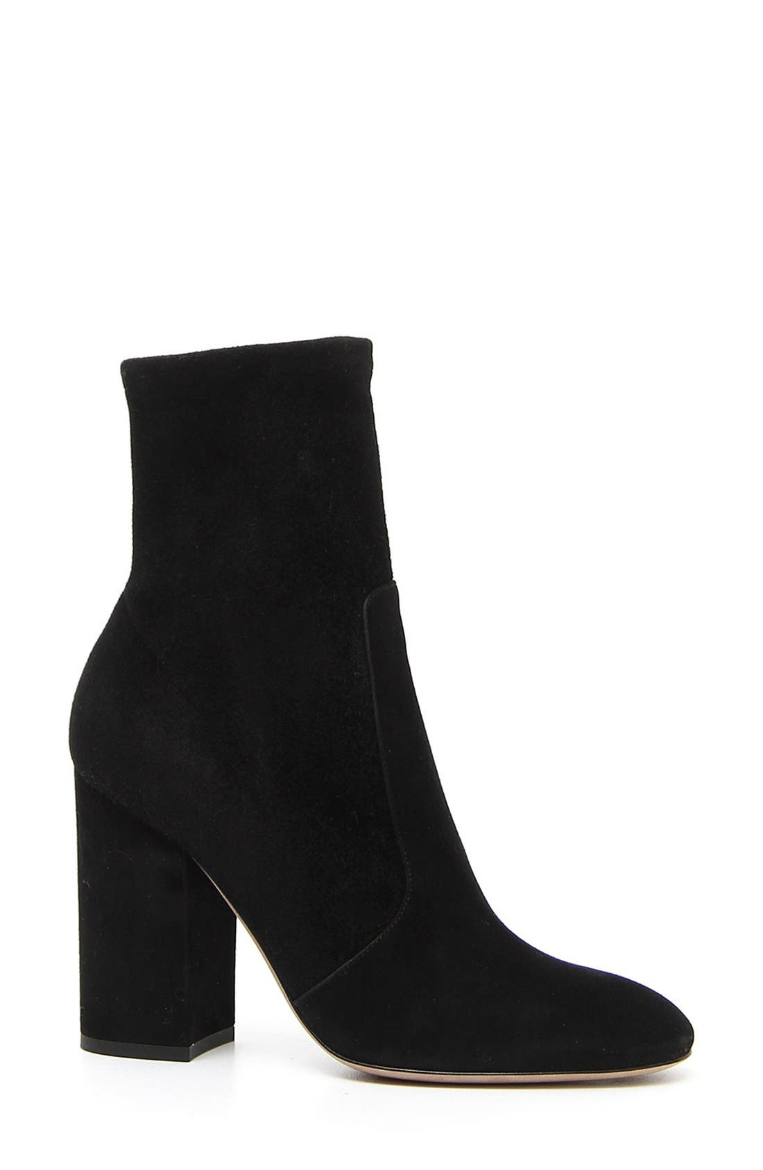 Stretch Suede Bootie,                             Main thumbnail 1, color,                             002