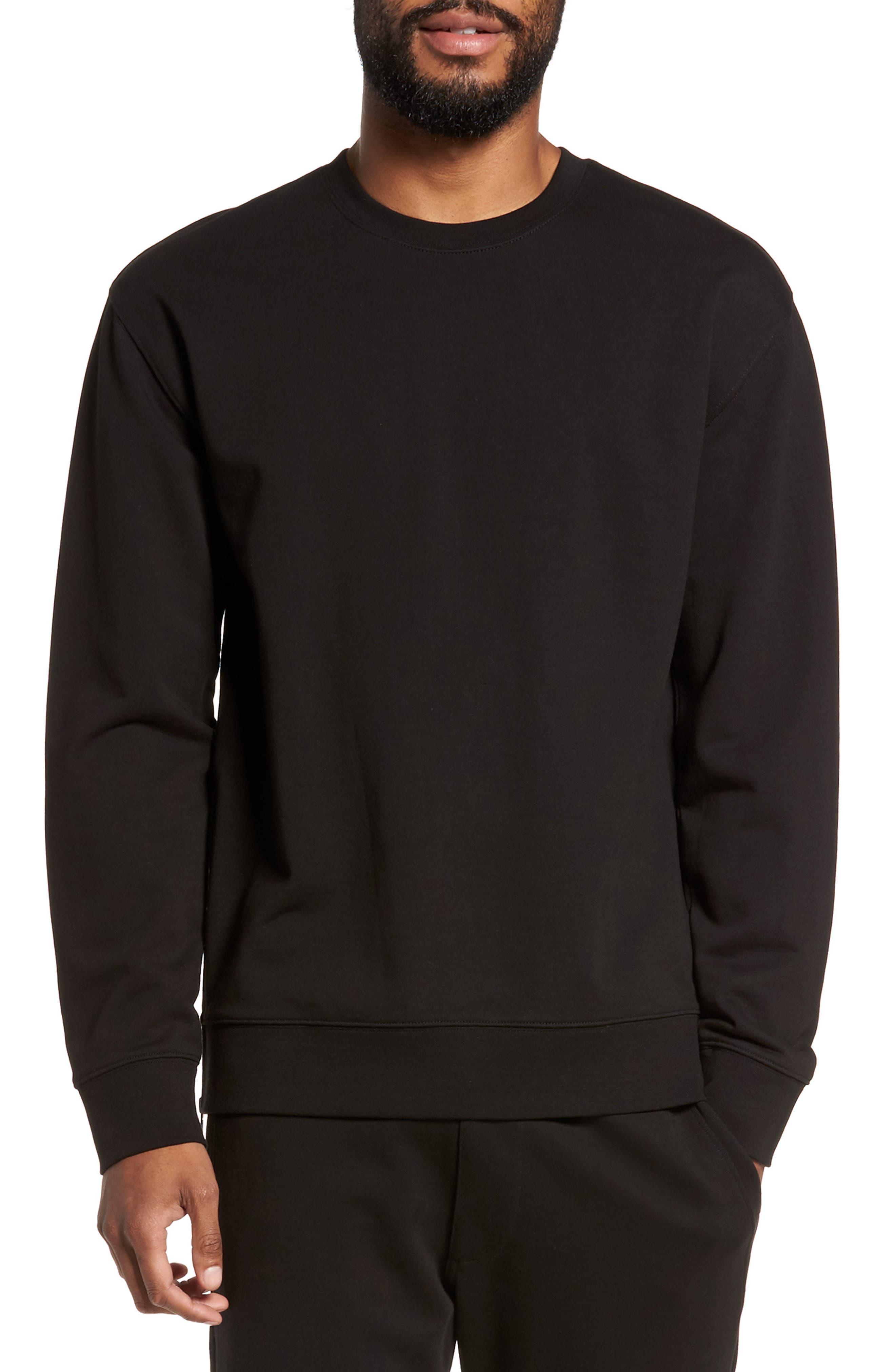 Side Zip Crewneck Sweatshirt,                         Main,                         color, 001